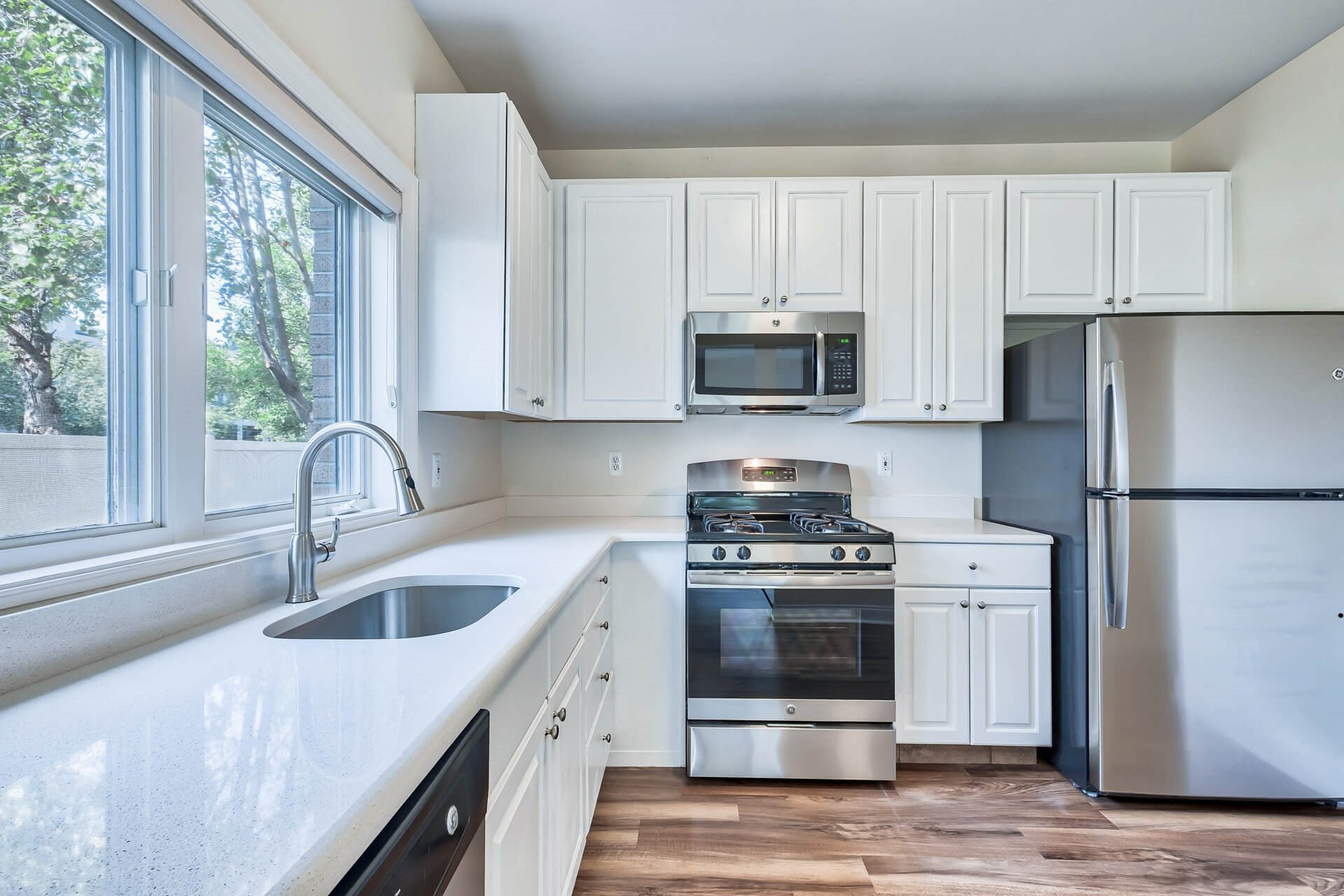 Stainless steel appliances and gas stoves at Windsor at Mariners, 100 Tower Dr., Edgewater