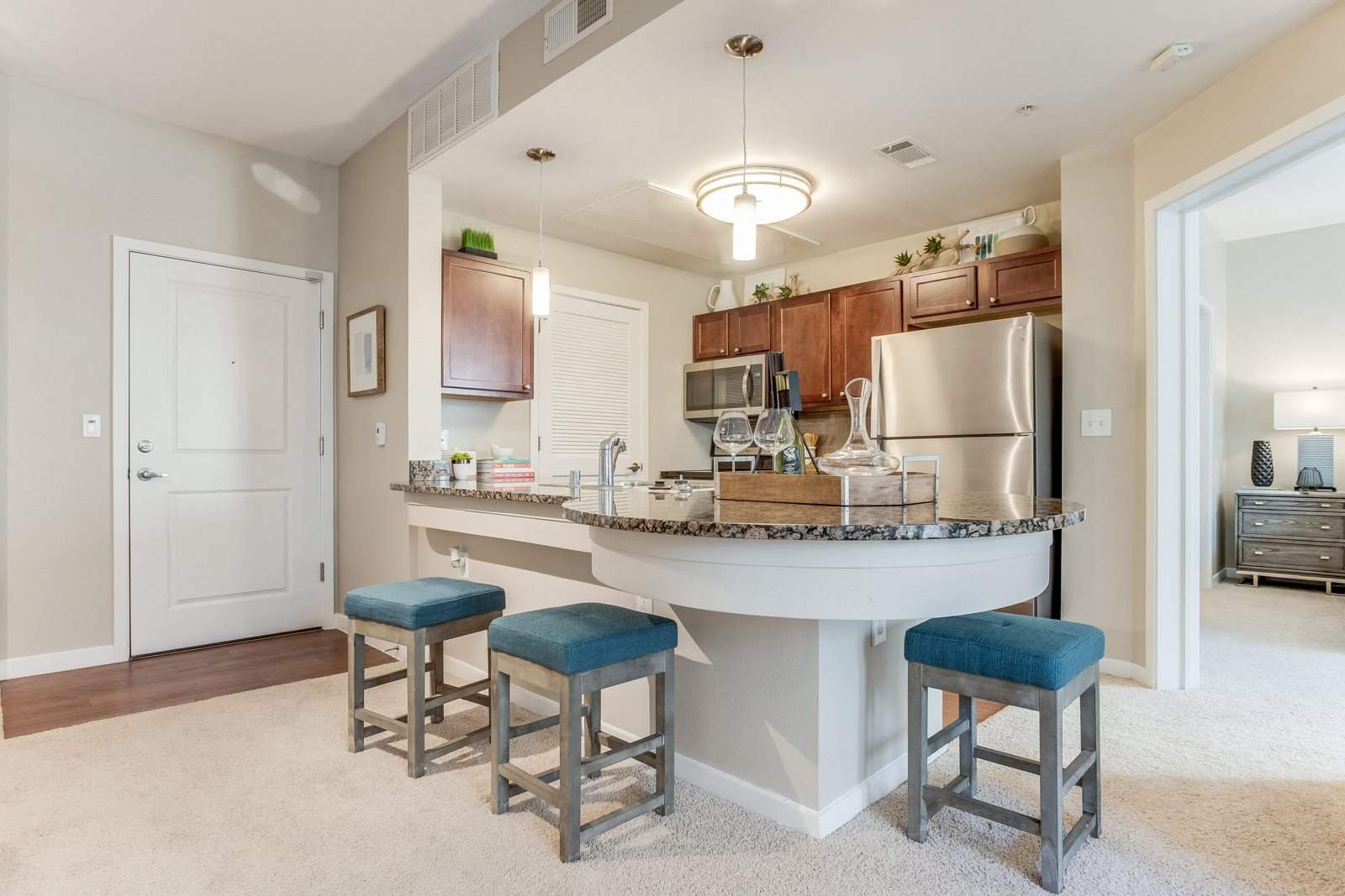 Impress your guests as they gather around your kitchen at The District, CO