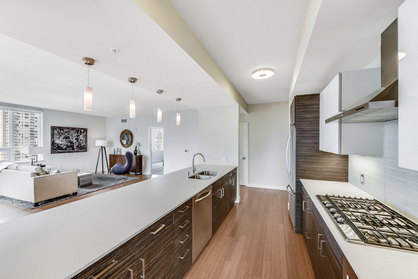 Spacious Kitchen with Modern Cabinetry at The Martin, Seattle, WA