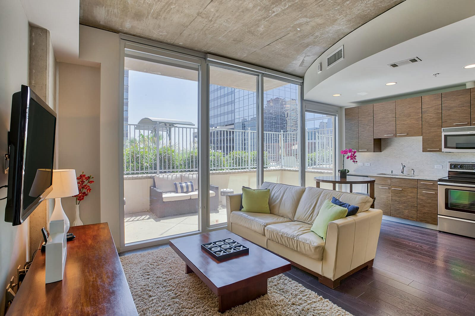 Modern Living Rooms With Spacious Balconies at Glass House by Windsor, Dallas, TX