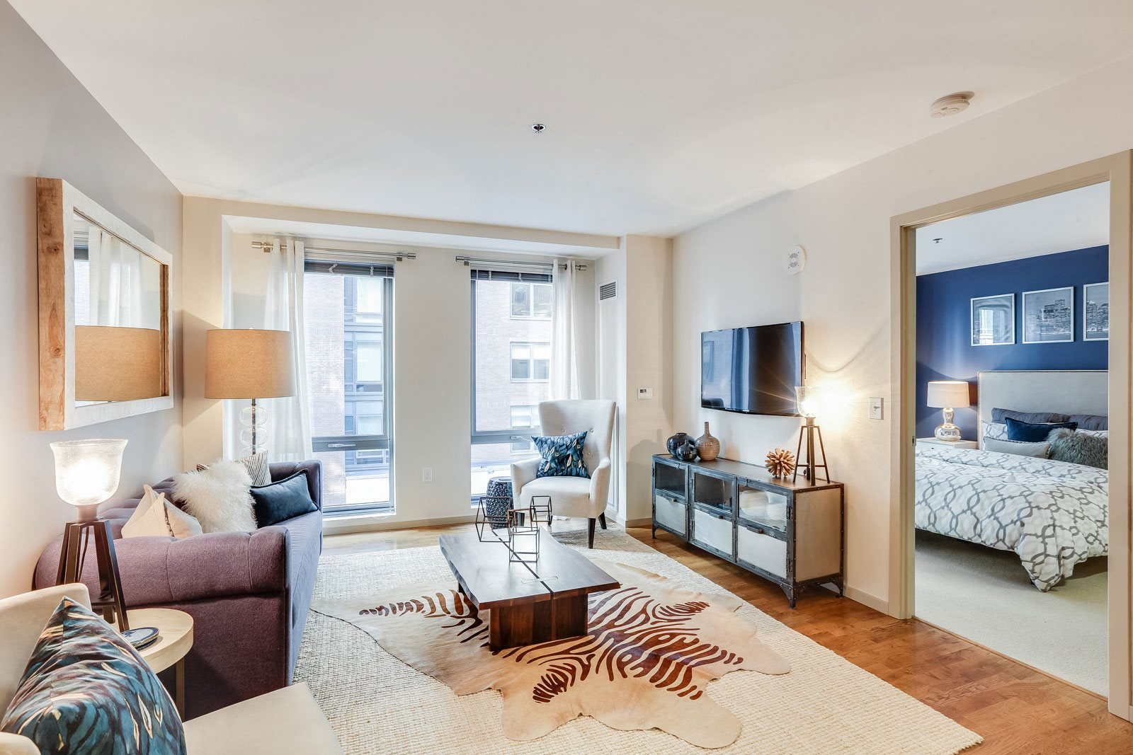 Hardwood floors in kitchen and living areas at The Victor by Windsor, 110 Beverly St, MA