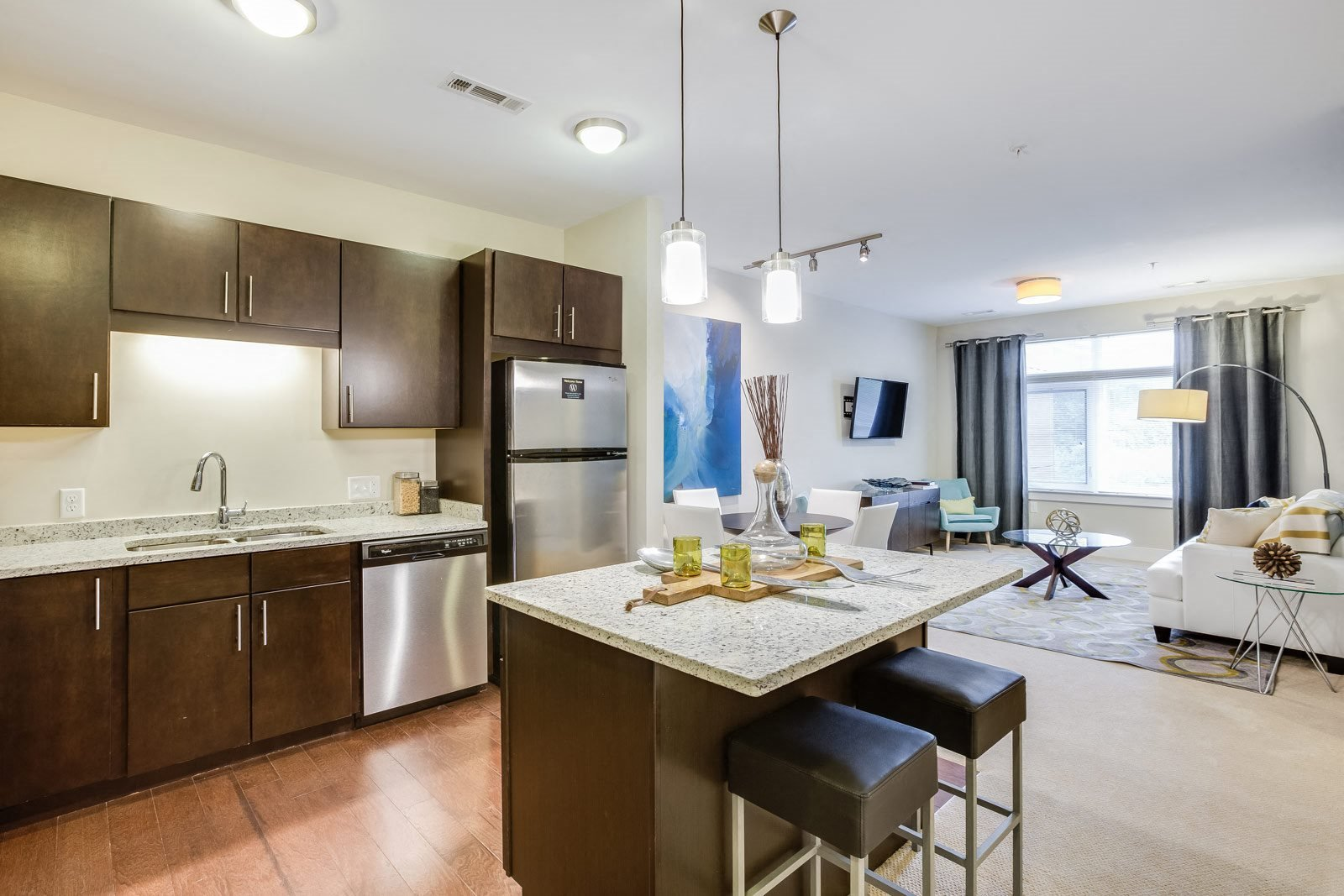 Kitchen Islands with Pendant Lighting and Breakfast Bars at Vox on Two, 223 Concord Turnpike, MA