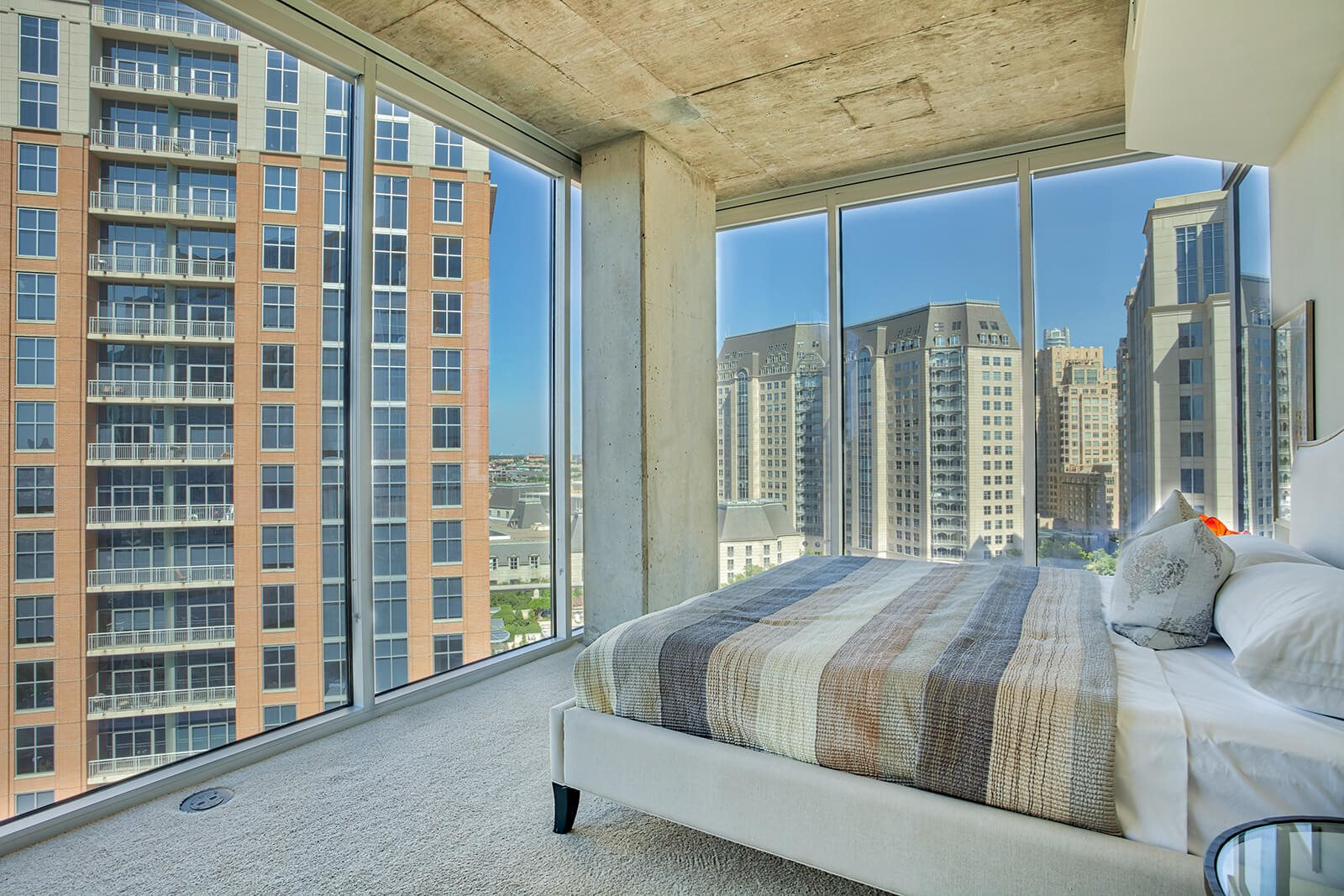 Modern Exposed Concrete Finishes at Glass House by Windsor, Dallas, Texas