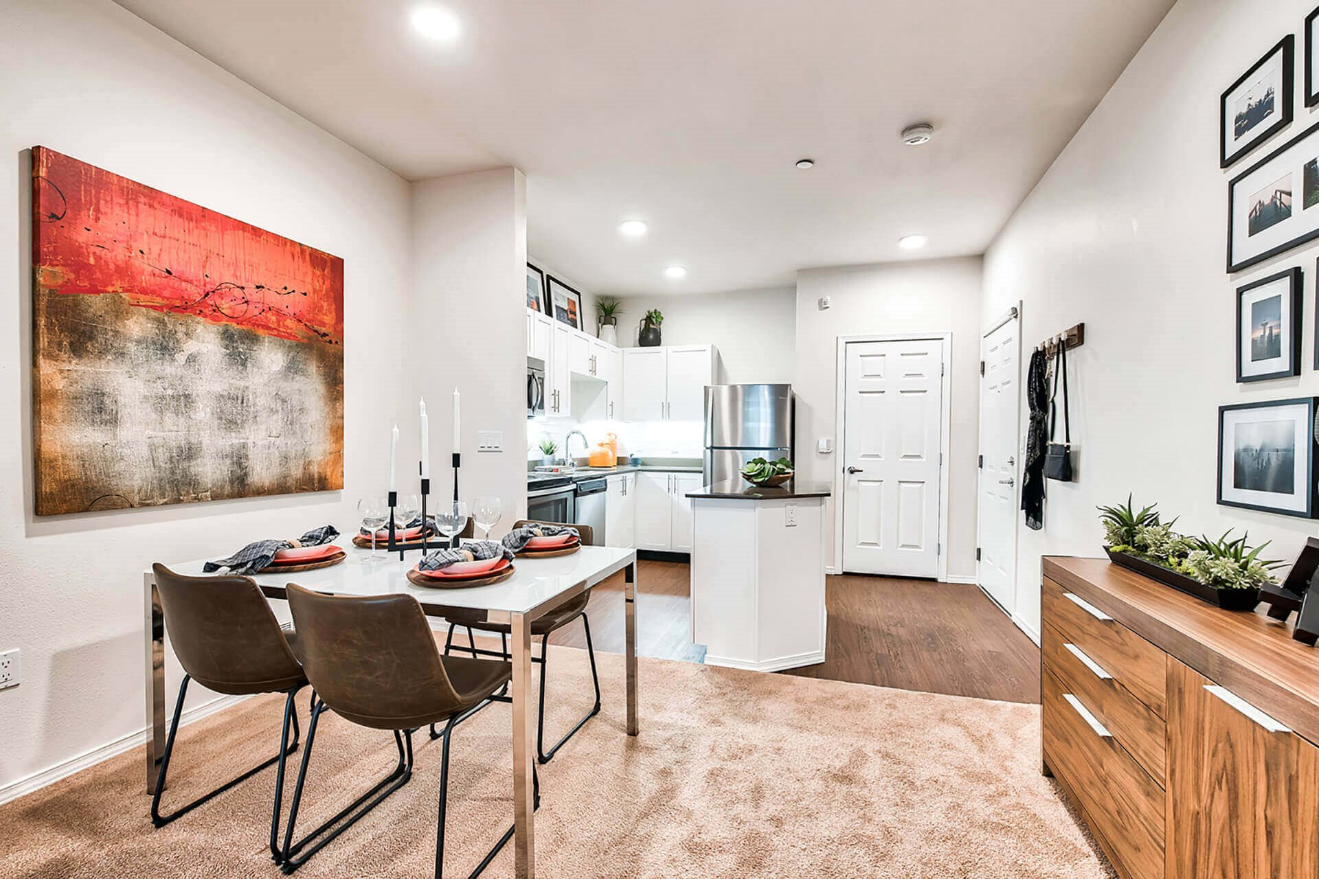 Wood flooring in kitchens at Reflections by Windsor, Redmond, WA