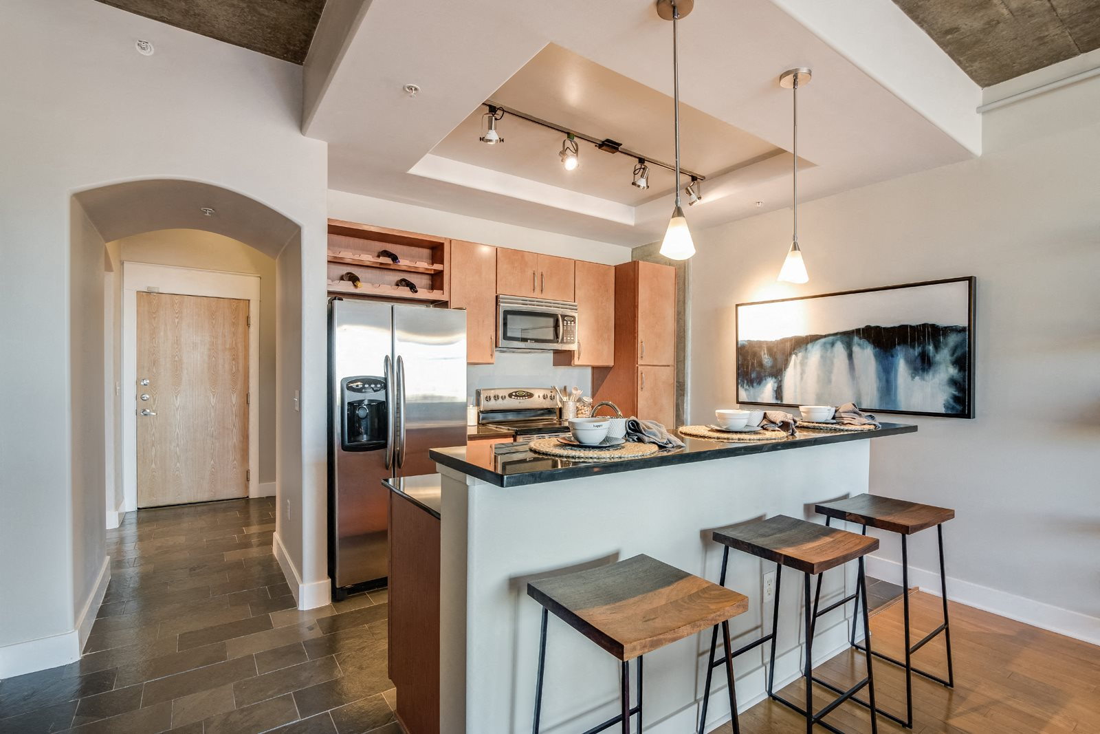 Spacious kitchen islands ideal for entertaining at Crescent at Fells Point by Windsor, Baltimore, MD