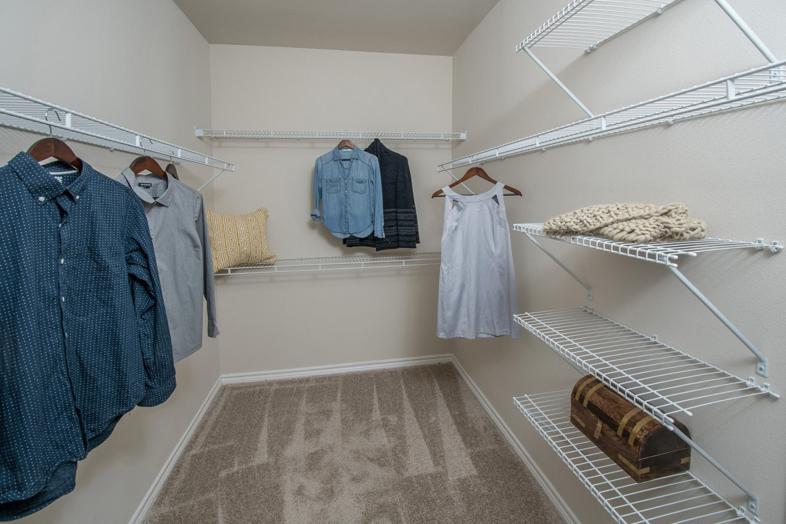 Walk-In Closets with Built-In Shelving at Windsor Republic Place, 78727, TX