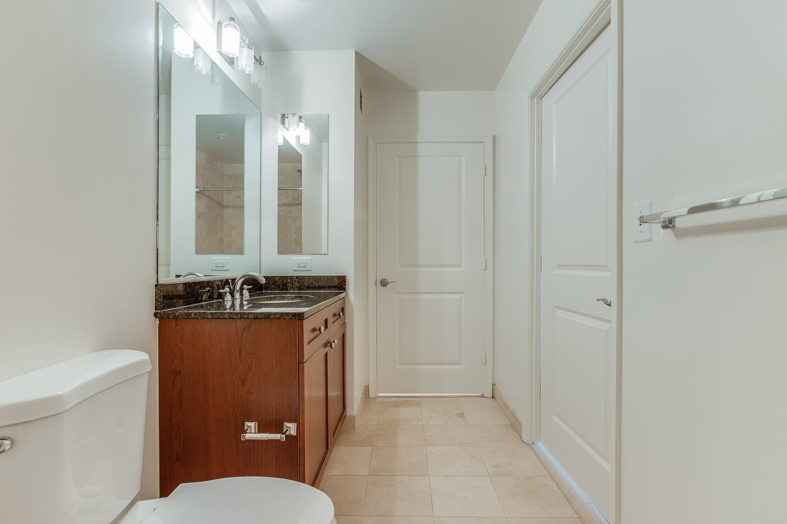 Luxurious Bathrooms with Granite Countertops and Slate Tile at Halstead Tower by Windsor, Alexandria, VA