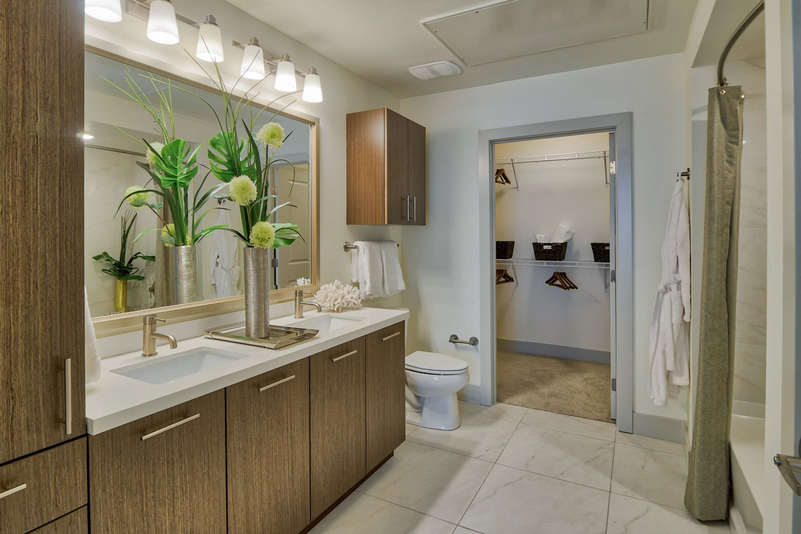 Dual Vanities and Stand-Up Shower at Olympic by Windsor, Los Angeles, California