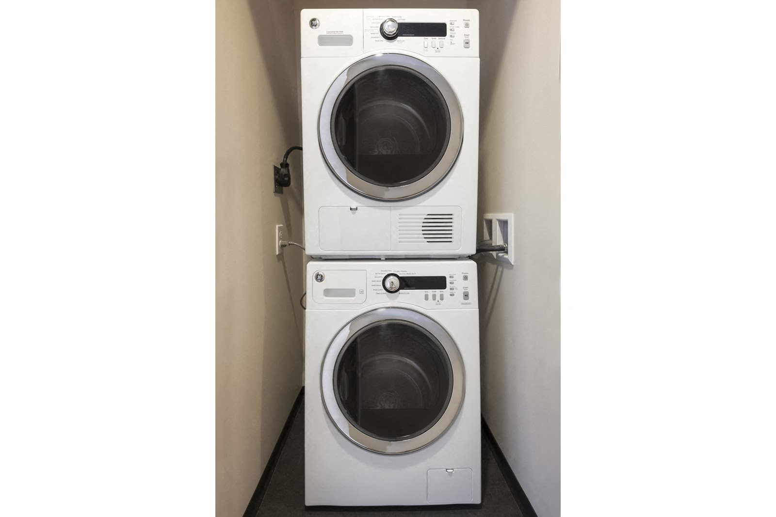 Full-Sized, Stacked Washer and Dryer at The Victor by Windsor, Boston, Massachusetts