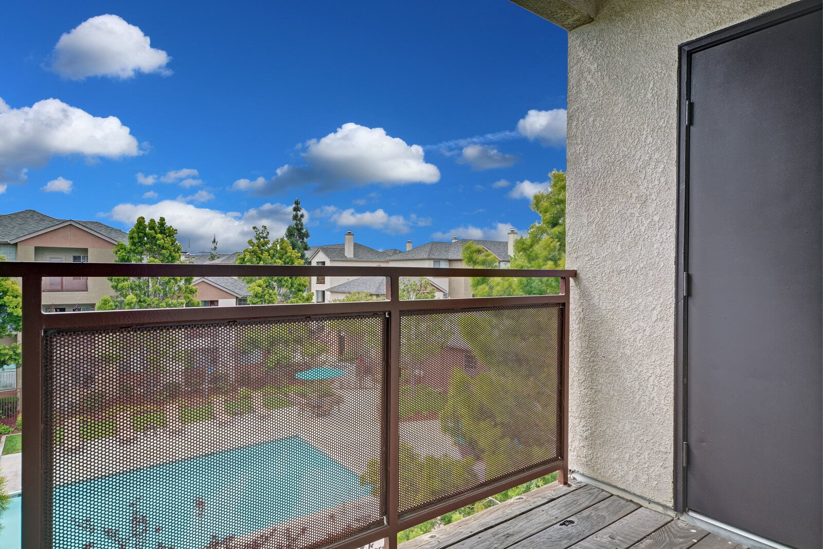 Private Patio With Pool View at Pavona Apartments, 760 N. 7th Street, San Jose