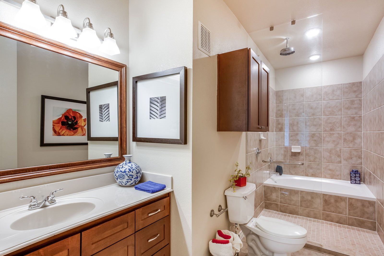 Deep Soaking Tub with Rainmaker Shower Head at Trianon by Windsor, Dallas, 75201