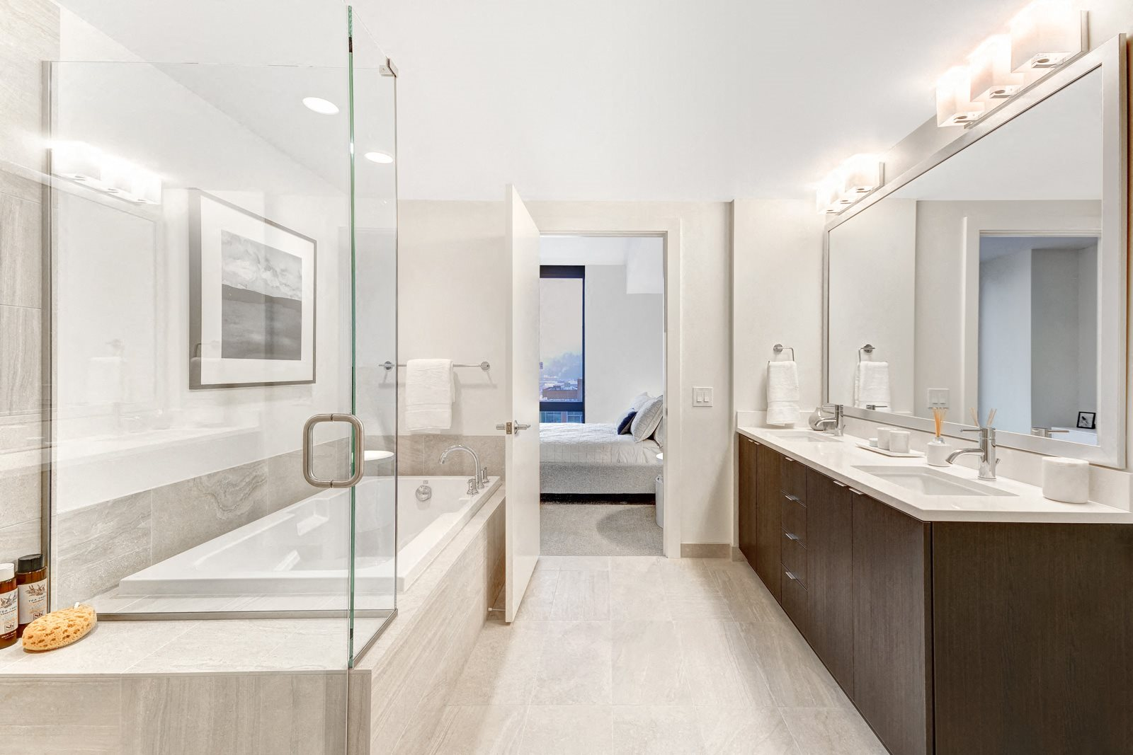 Modern Bathroom with Shower and Separate Soaking Tub at Stratus, Seattle, WA