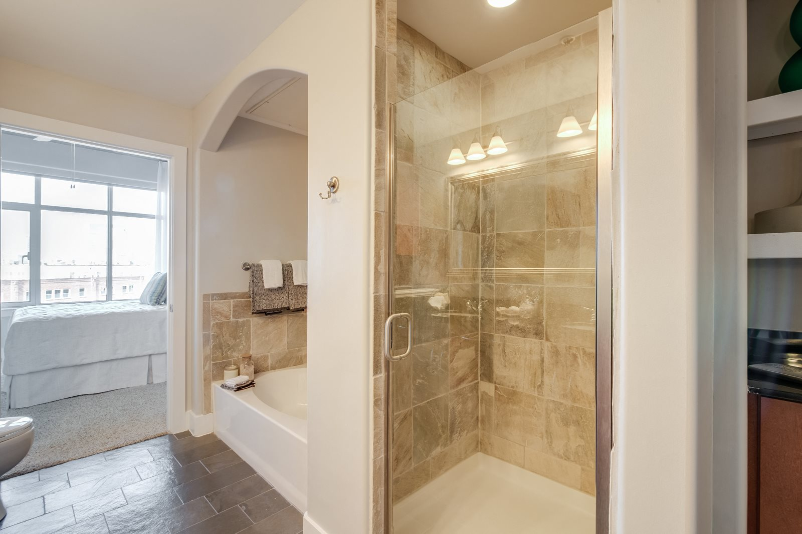 Frameless Glass Stand-Up Shower at Crescent at Fells Point by Windsor, 21231, MD
