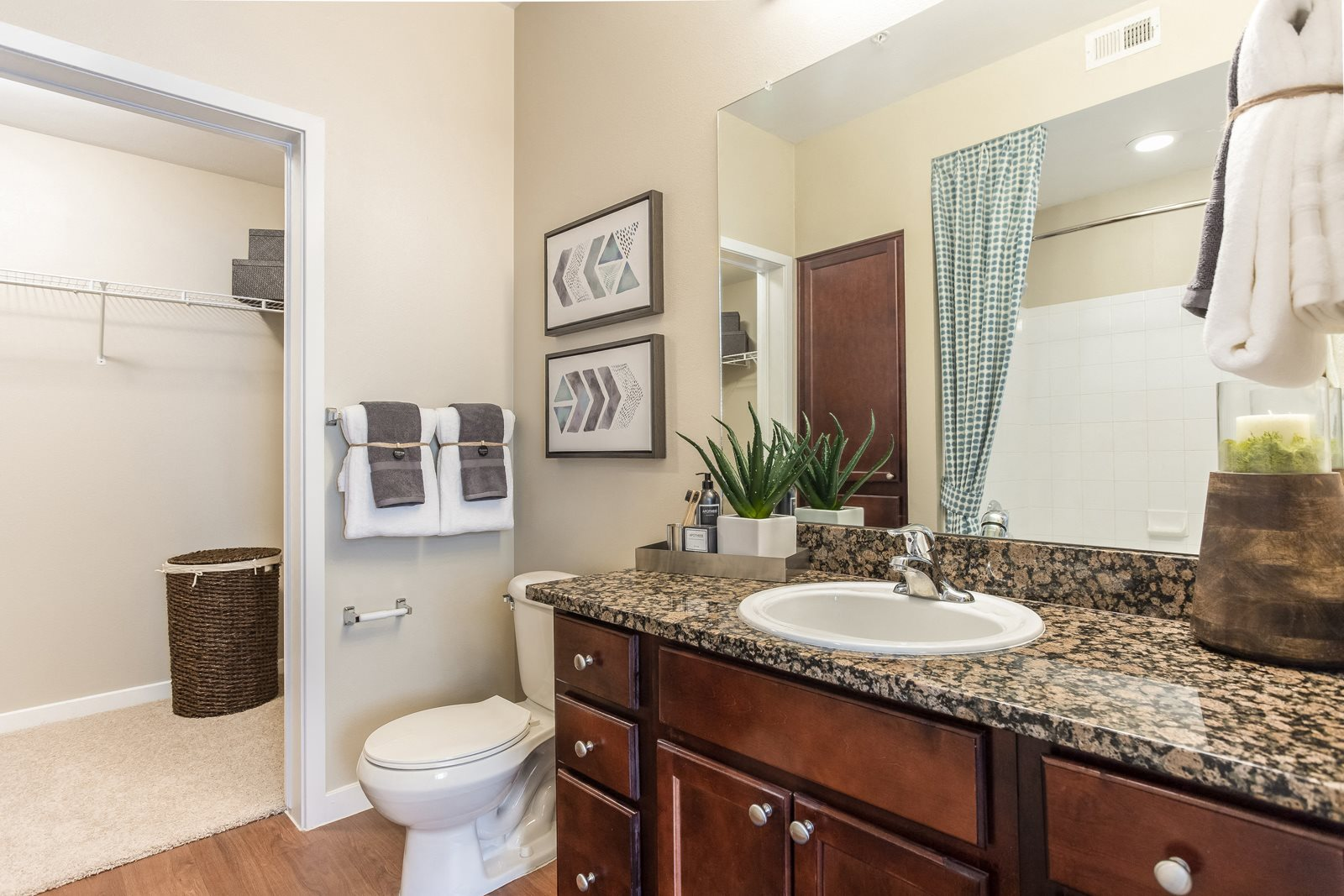 Huge bathroom and closet space at The District, Denver, 80222