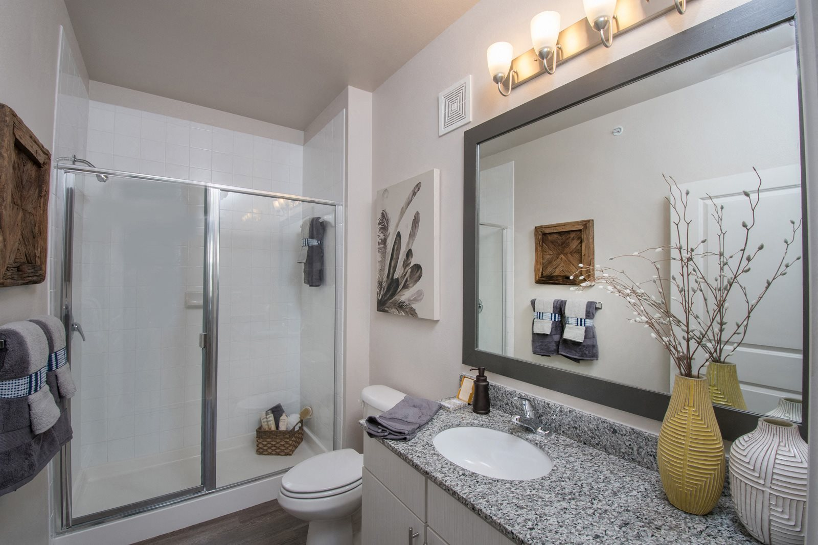 Glass-Enclosed, Walk-In Shower at Windsor Republic Place, Austin, Texas