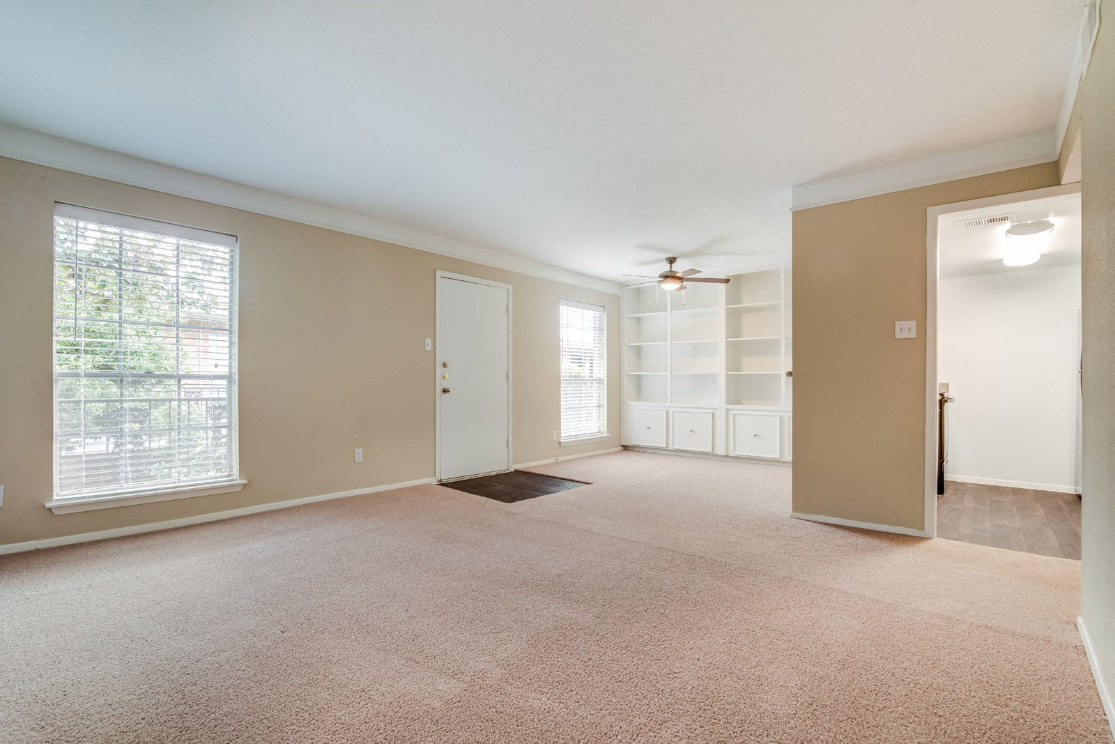 Built-In Living Room Storage at Allen House Apartments, 3433 West Dallas Street, Houston