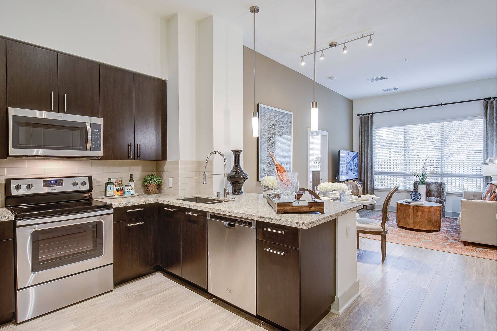 Granite and quartz countertops, at Cannery Park by Windsor, 95112, CA