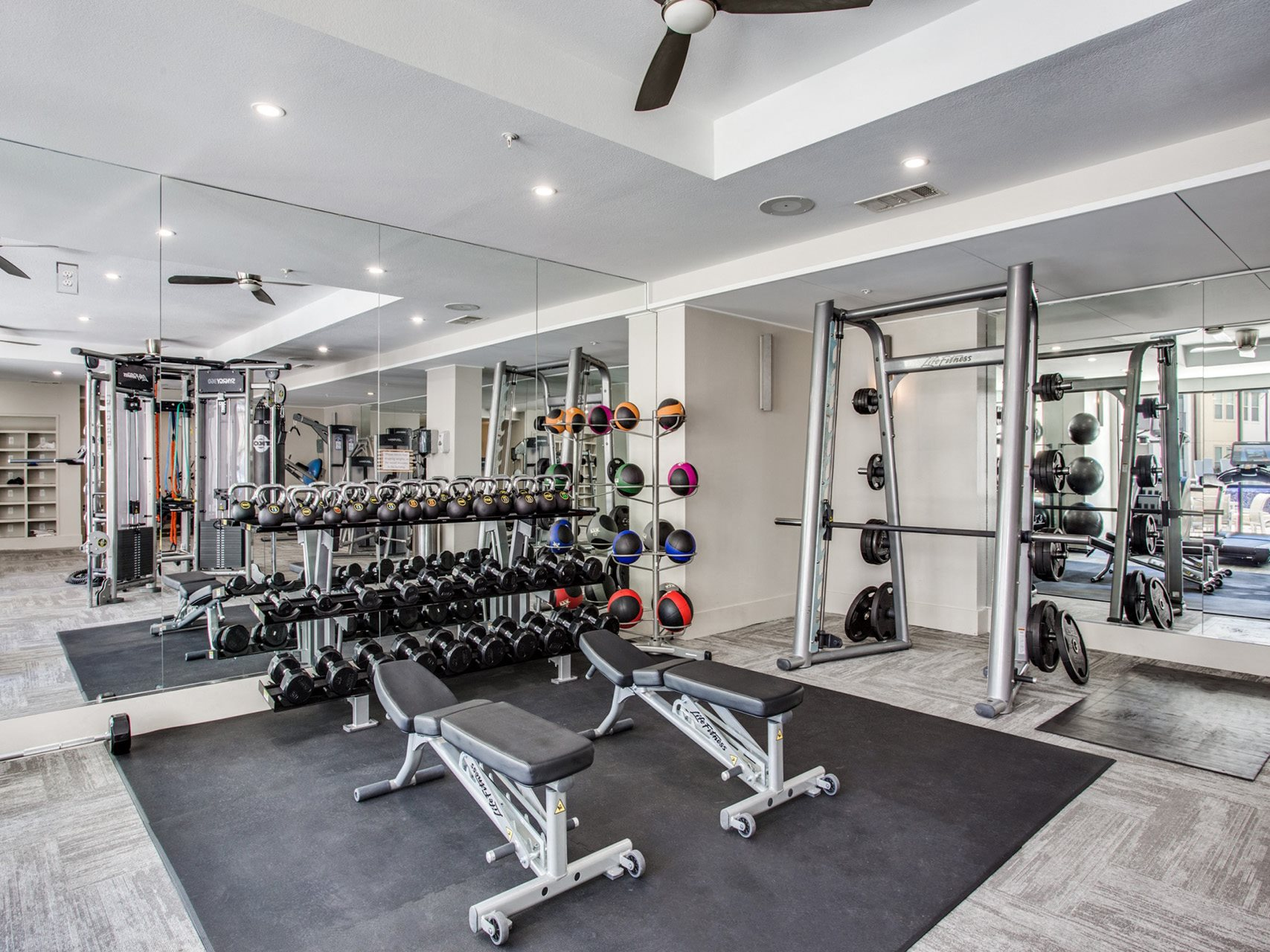 Free weight training area at The Monterey by Windsor, 75204, Dallas