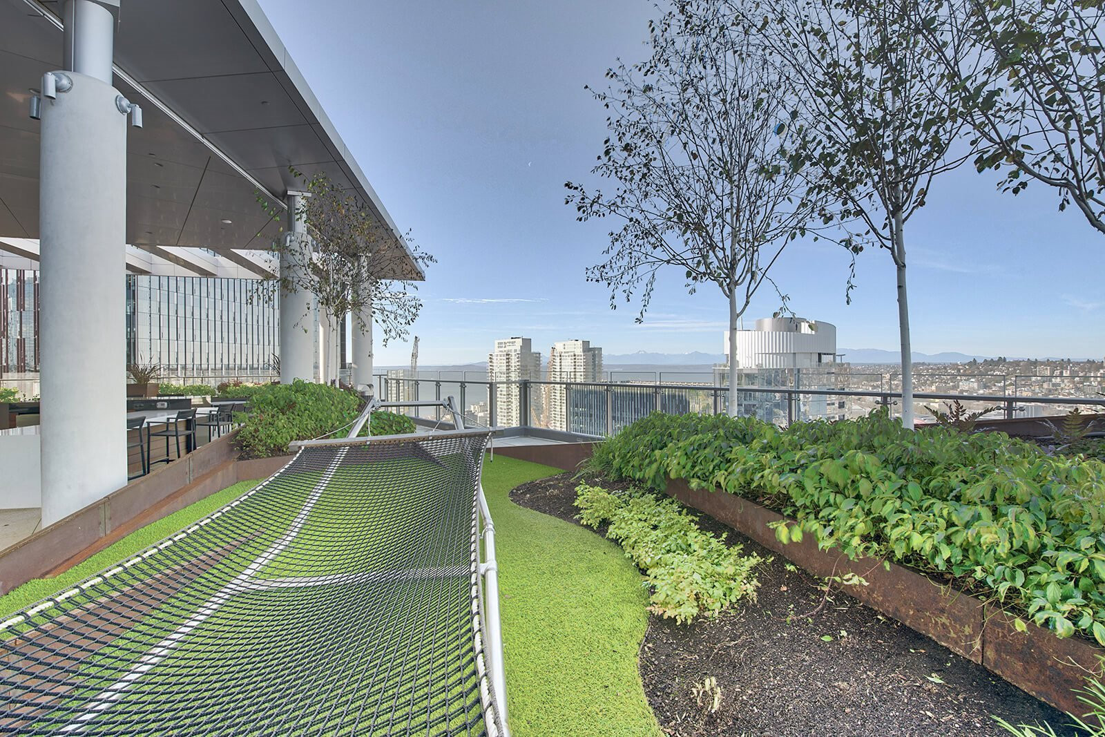 360-degree views from the rooftop, complete with a hammock at Stratus, Washington