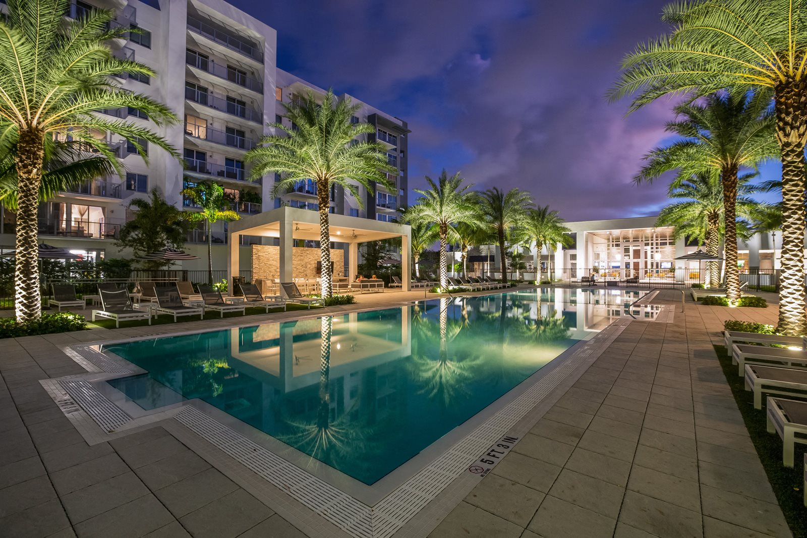 Pool Side Relaxing Area at Allure by Windsor, Boca Raton, FL