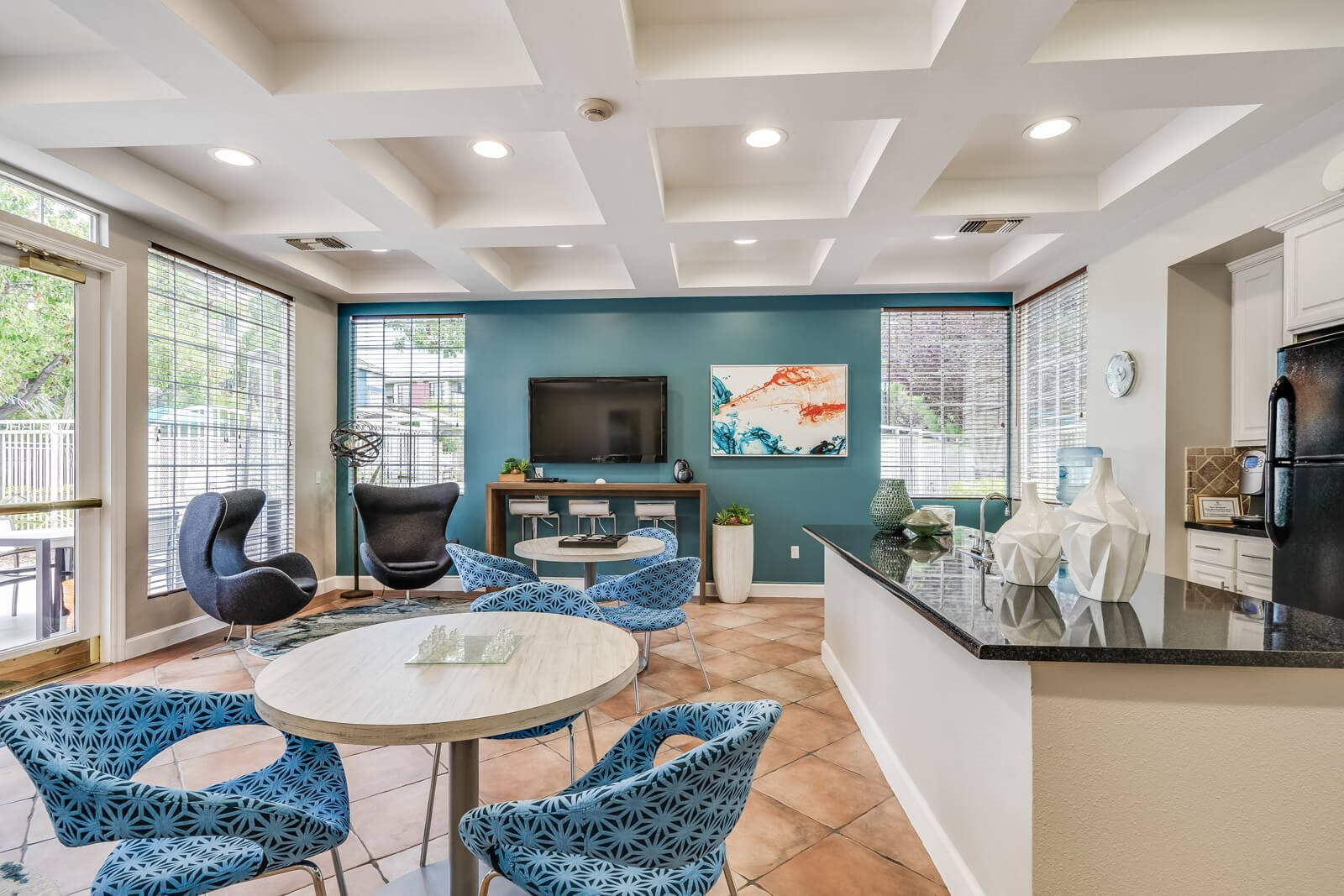 Clubhouse With Television and Full Kitchen at Pavona Apartments, San Jose, CA