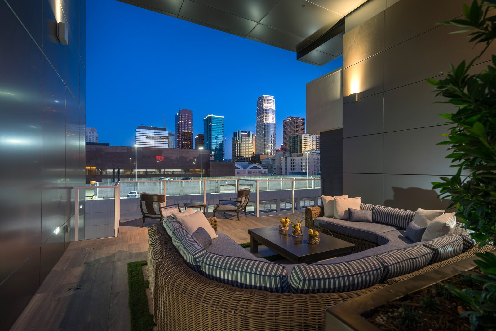 Beautiful Views from Outdoor Lounge at Olympic by Windsor, 936 S. Olive St, Los Angeles