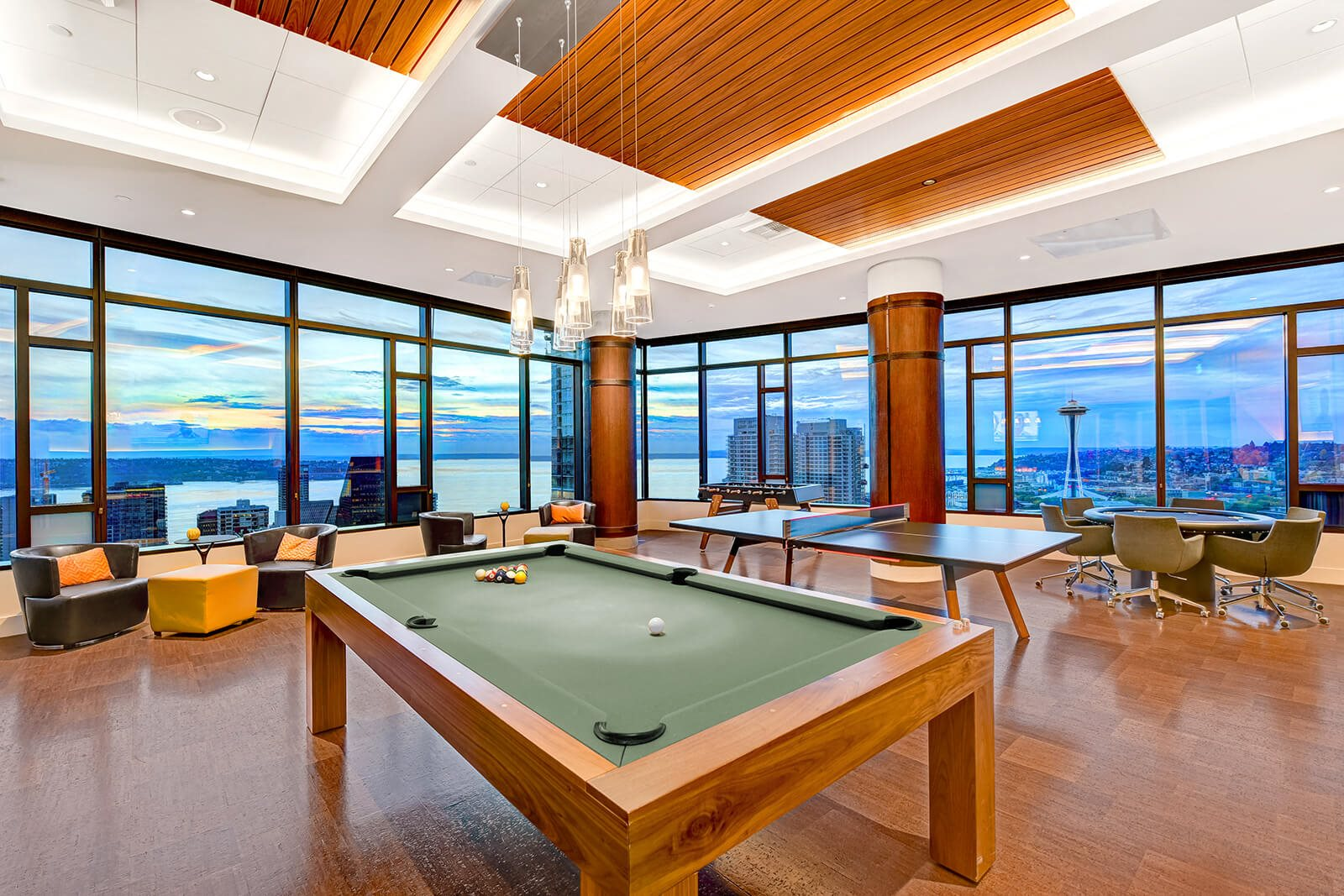 Sky Lounge That Includes Billiards, Ping Pong, and Foosball Tables at Cirrus, Seattle, 98121