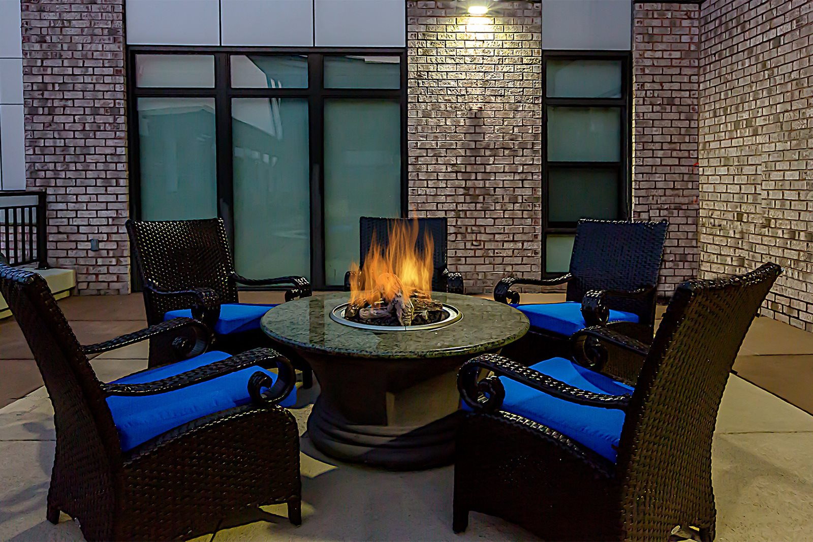 Outdoor Lounge Area with Fire Pit at Halstead Tower by Windsor, Alexandria, VA
