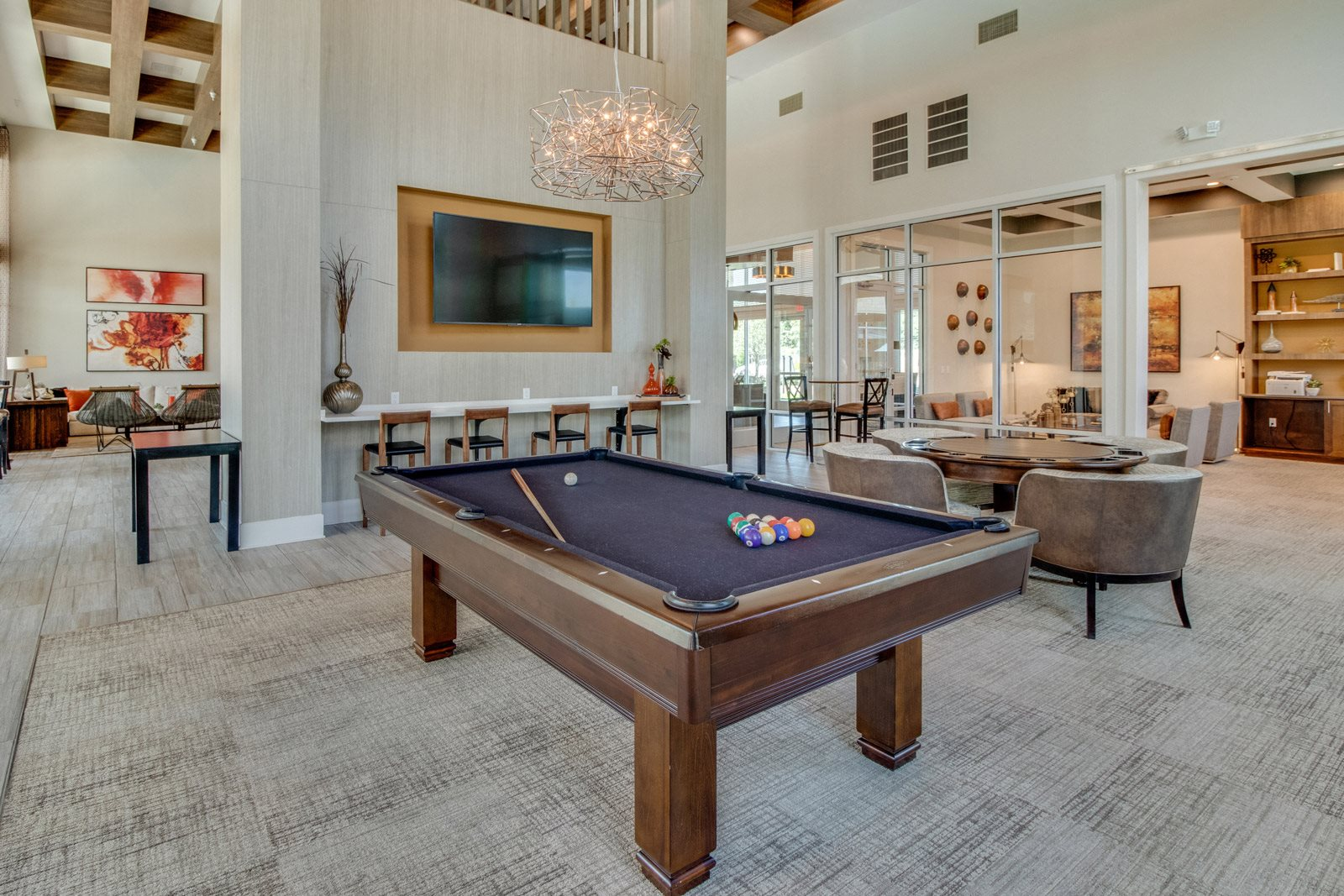 Recreation Room with Billiards Table at Windsor Republic Place, Austin, TX