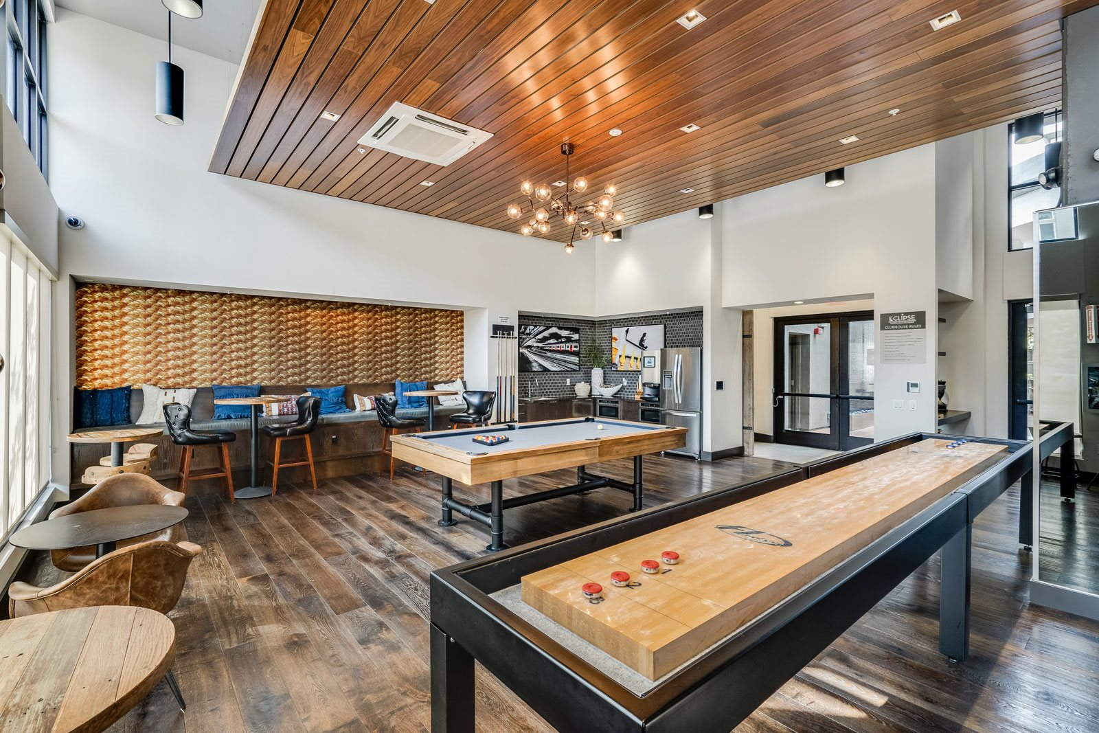 Recreation Room with Billiards Table and Shuffleboard at Dublin Station by Windsor, Dublin, California