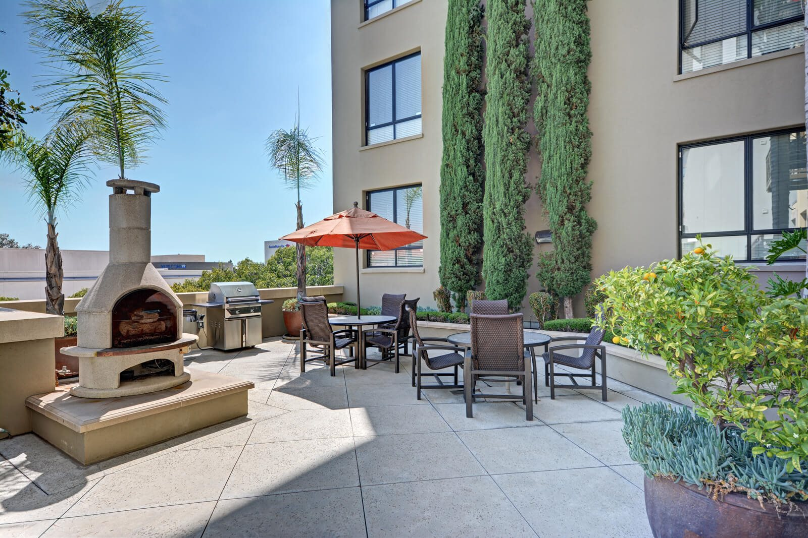 Grill and Fire Pit in Courtyard at Terraces at Paseo Colorado, 91101, CA