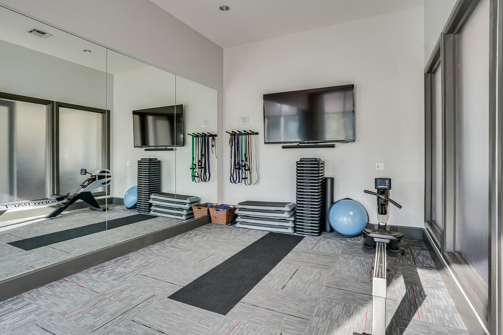 Fitness Studio with Yoga Space and Rowing Machine at Windsor at Broadway Station, Denver, CO