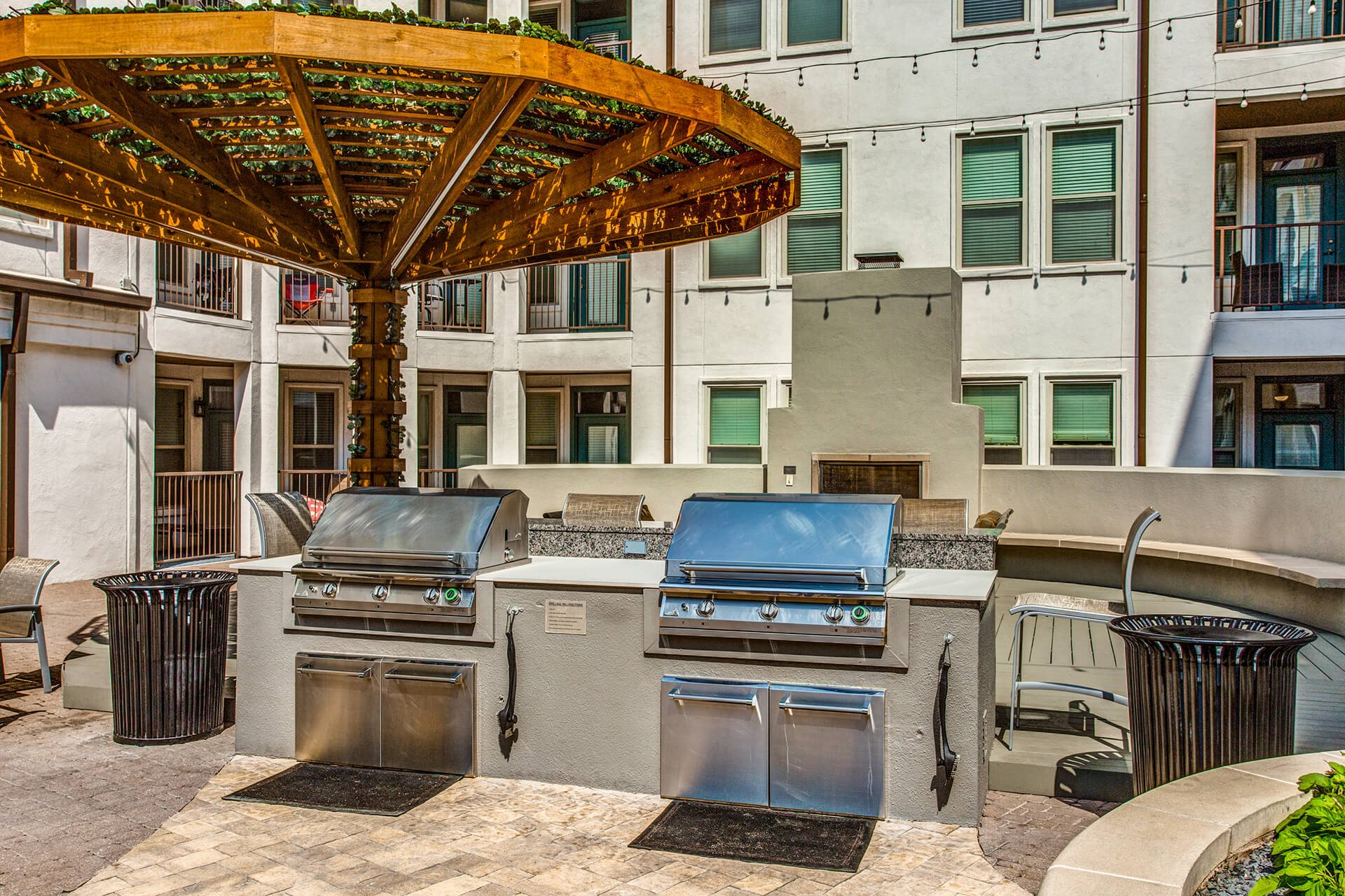 Grilling Station and Dining Area at The Monterey by Windsor, Dallas, Texas