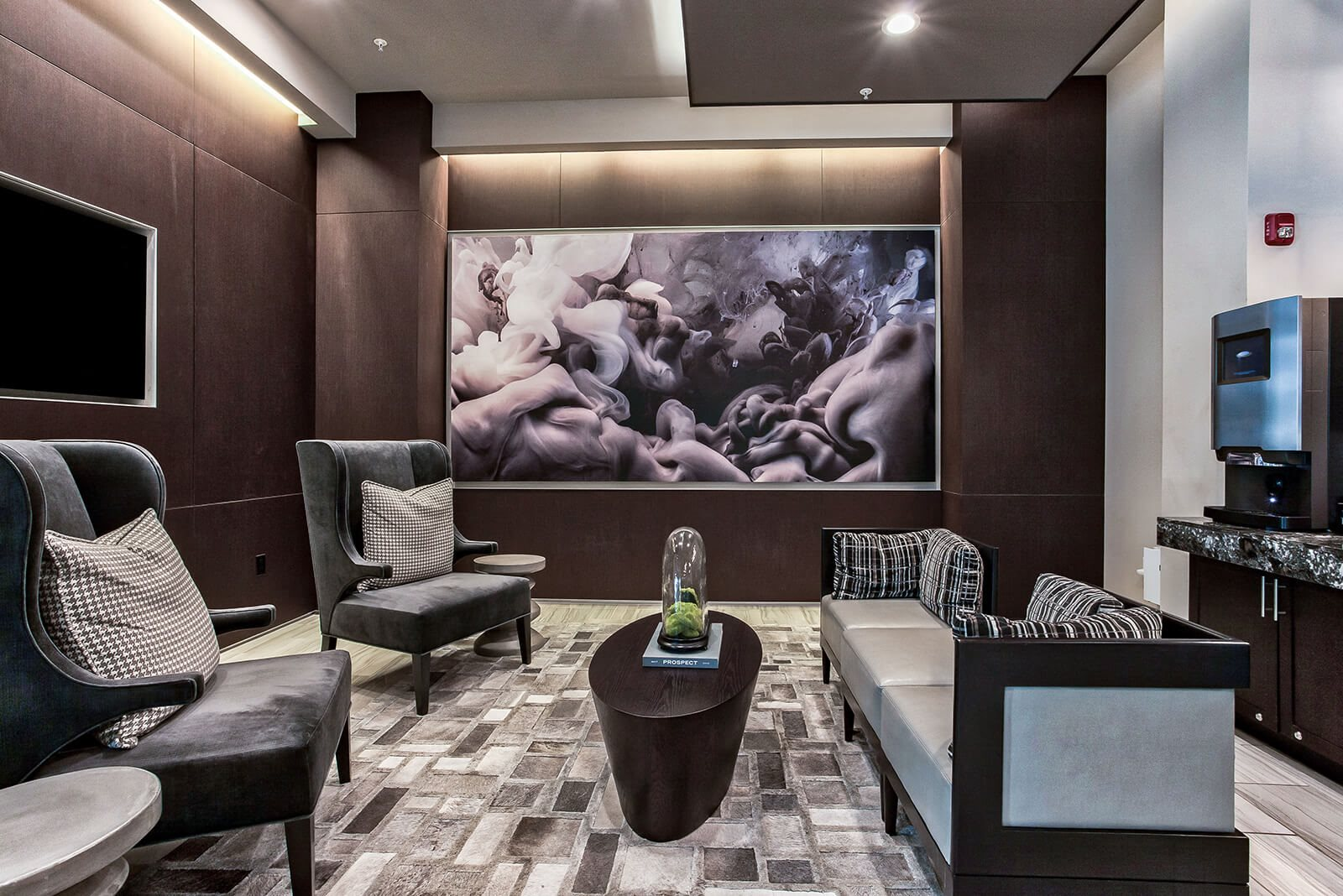 Media lounge with complimentary coffee bar at  Windsor Turtle Creek, Texas, 75219