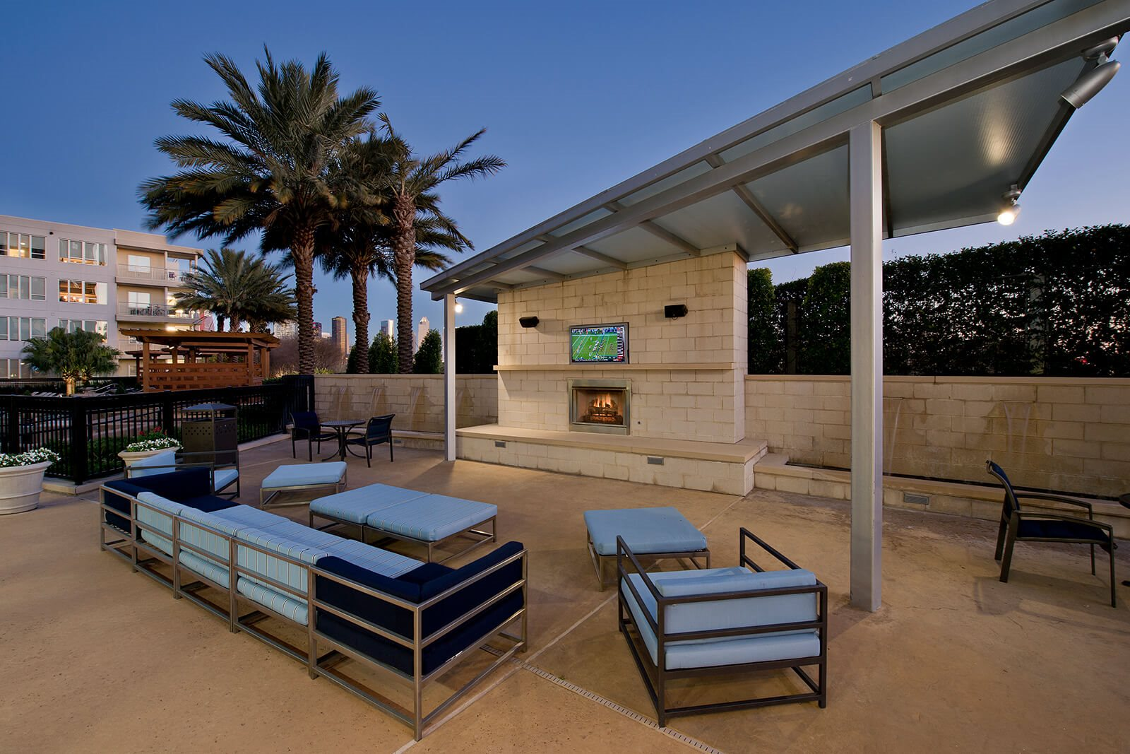 Outdoor Lounge with TV and Fireplace at Memorial by Windsor, Houston, Texas