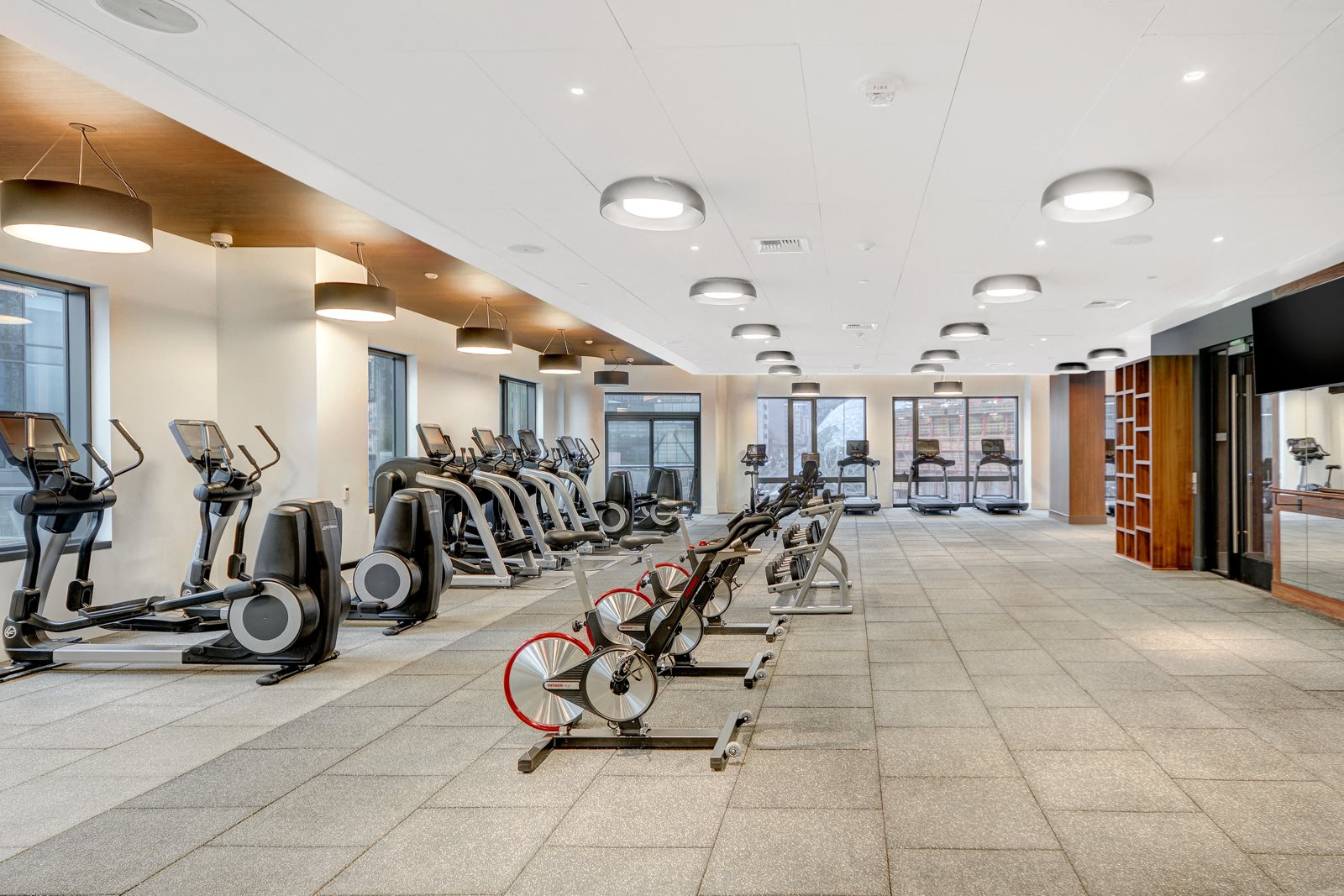 Spin Bikes and Cardio Equipment in Fitness Center at Stratus, Seattle, WA