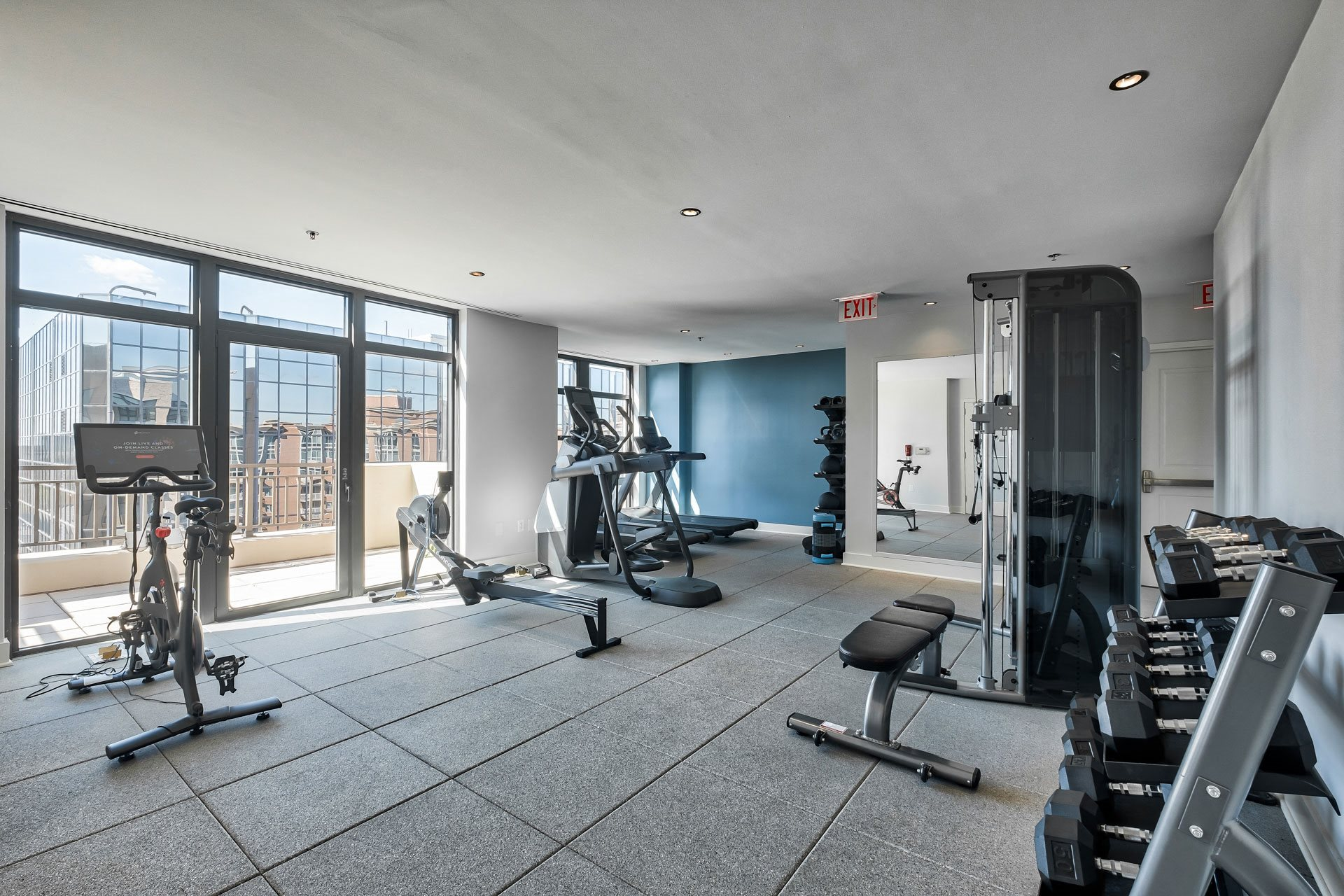 24-Hour Fitness Center With Free Weights at Halstead Tower by Windsor, Virginia, 22302