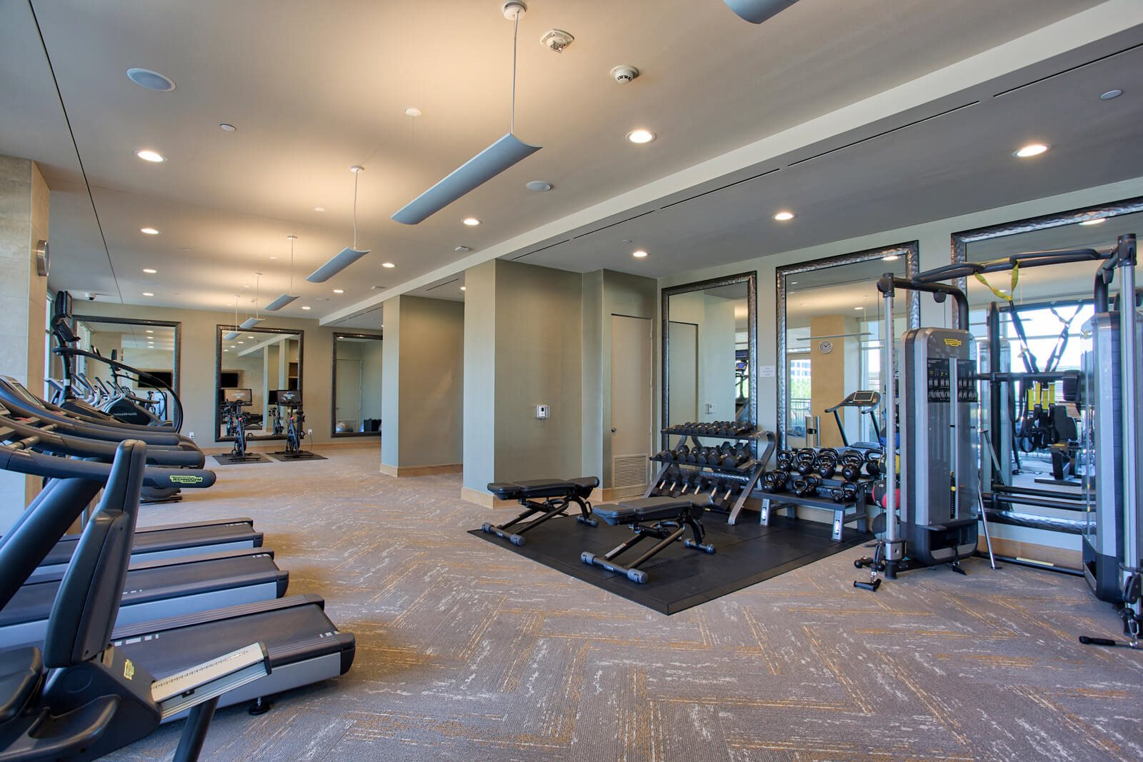 Technogym Equipment in Fitness Center at The Jordan by Windsor, 2355 Thomas Ave, Dallas