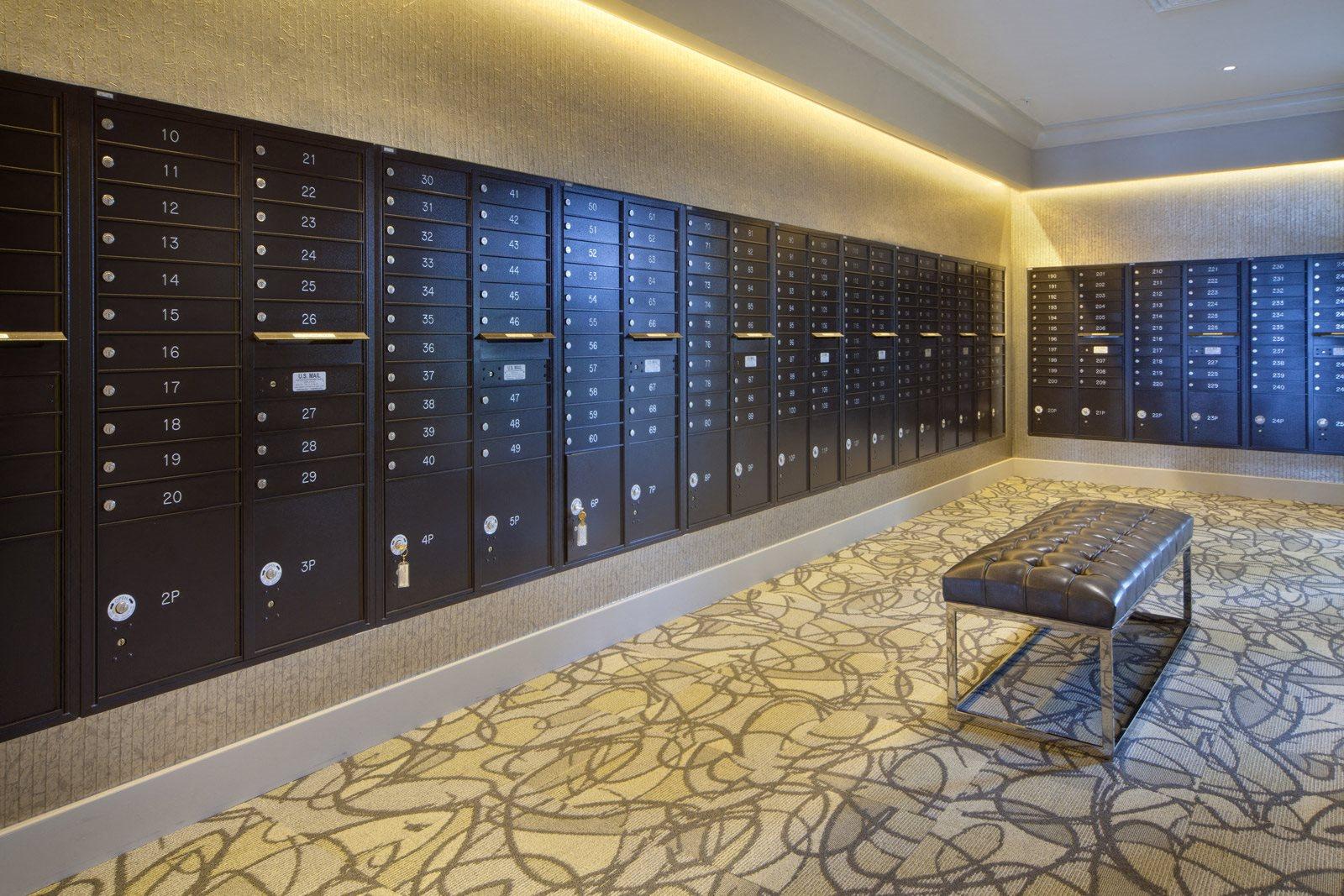Indoor Mail Room at Windsor at Doral, Doral, Florida
