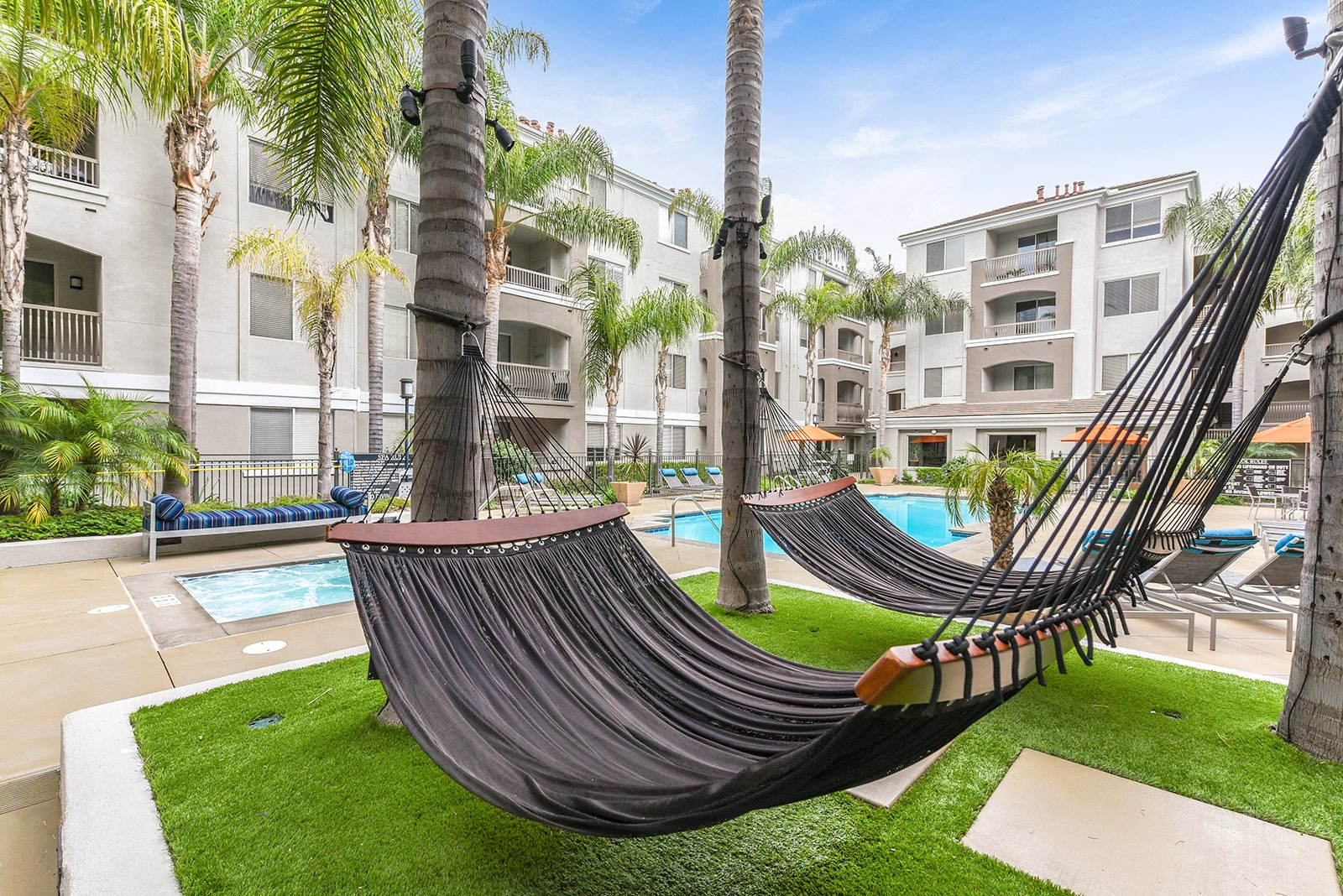 Hammock area near the pool at Windsor at Main Place,  1235 West Town and Country Road, CA