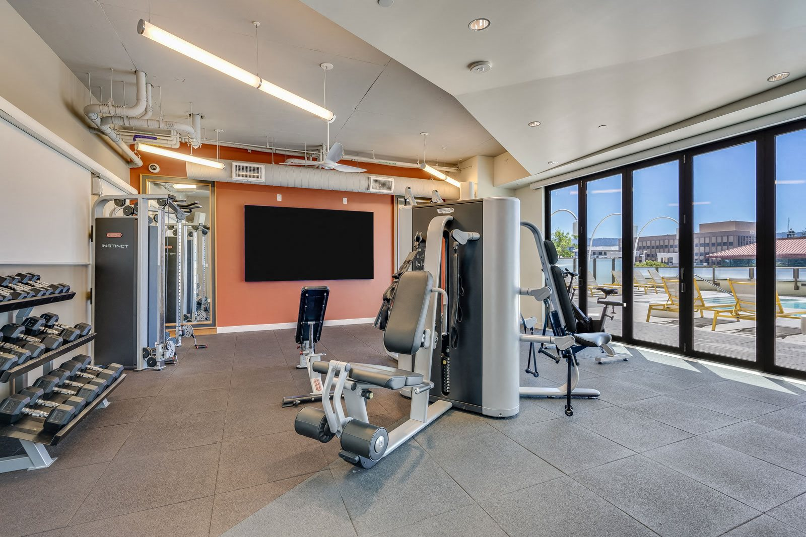 TVs in Fitness Center at The Marston by Windsor, 825 Marshall Street, Redwood City