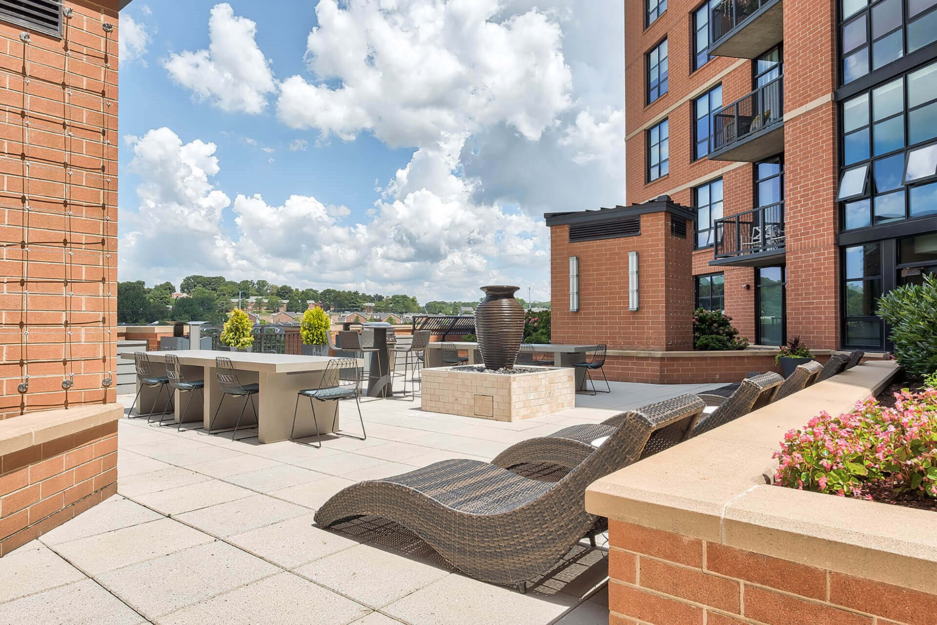 Relaxing Outdoor Lounge Area at IO Piazza by Windsor, 2727 South Quincy Street, Arlington