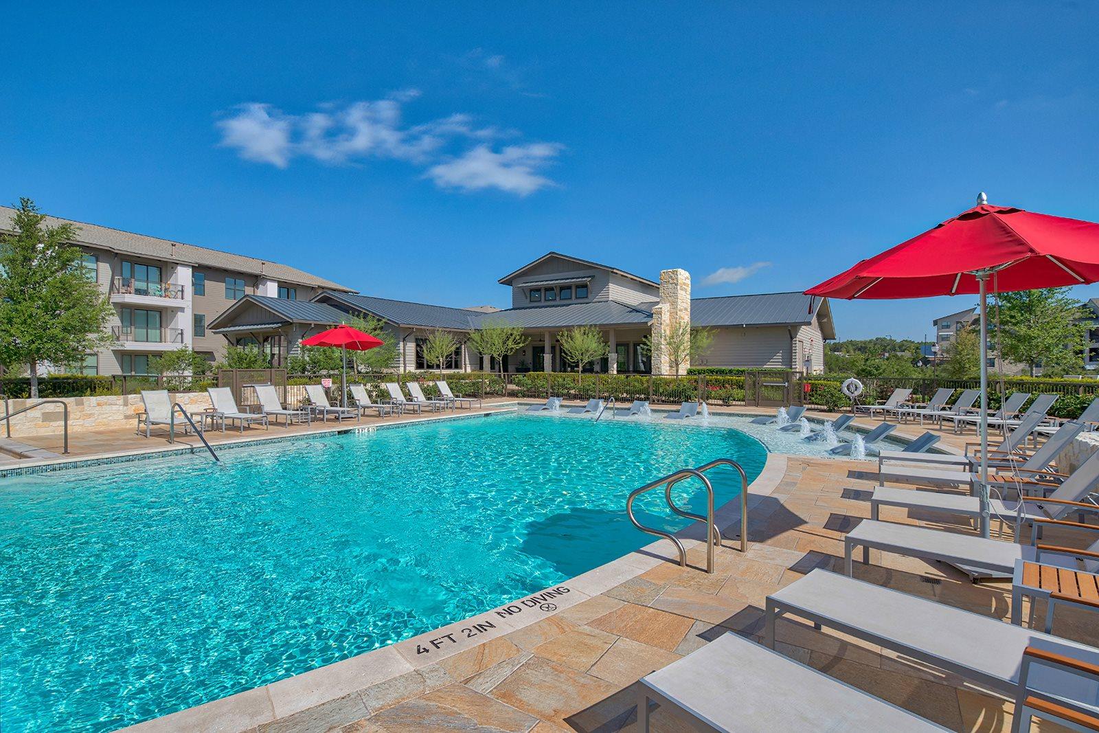 Infinity Edge Pool with Lounge Chairs at Windsor Lantana Hills, 78735, TX