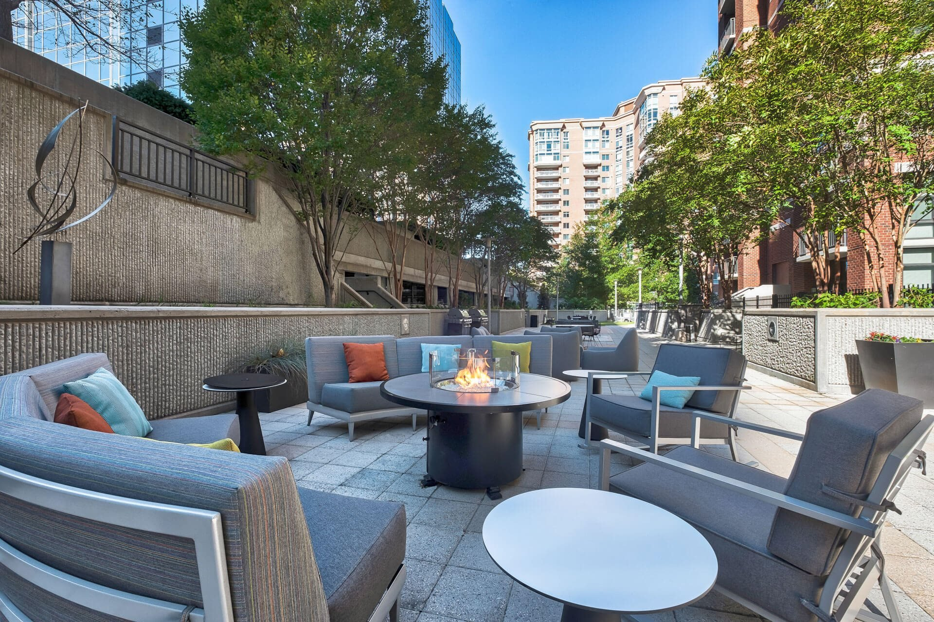Outdoor Living Area Including Fire Pit at Halstead Tower by Windsor, Alexandria, 22302