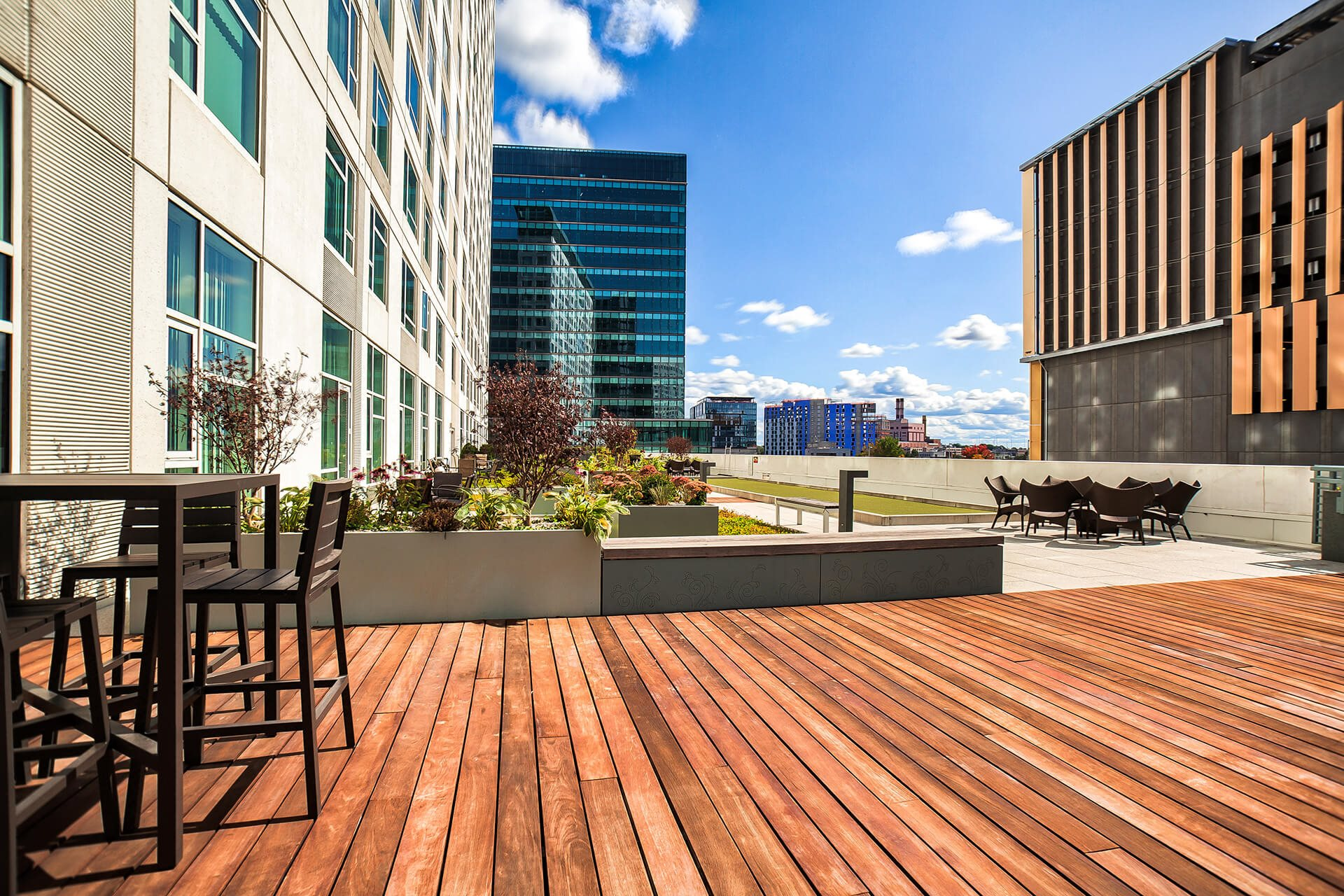 Outdoor living spaces at Waterside Place by Windsor, 505 Congress St, Boston