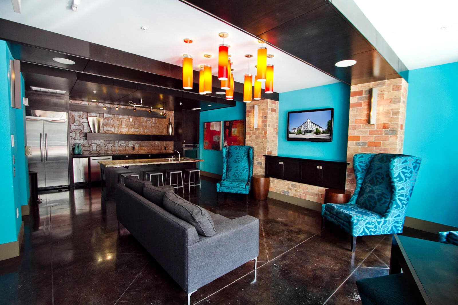 Resident Lounge with Kitchen at The Monterey by Windsor, Dallas, TX