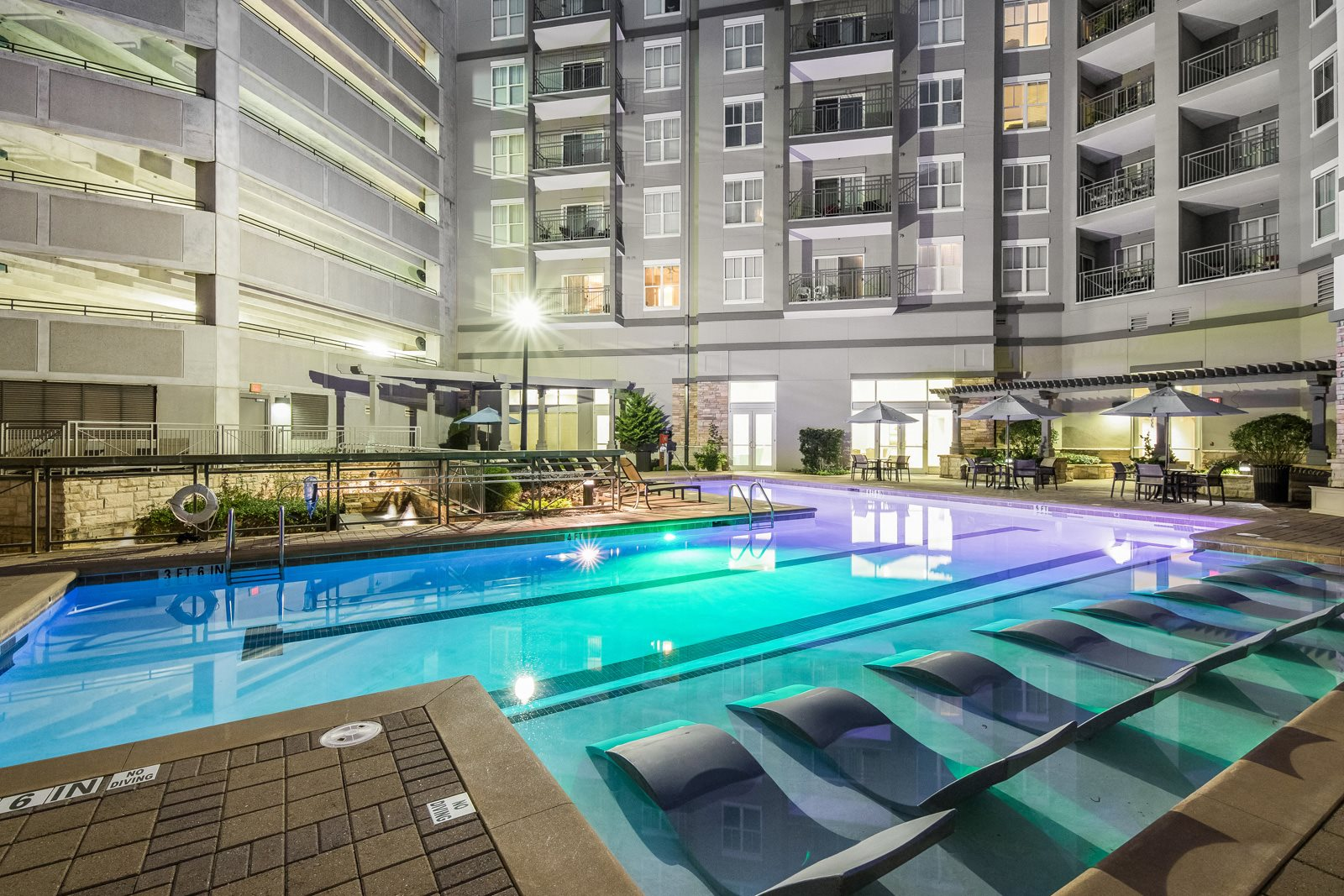 Swimming Pool with In-Water Lounge Chairs at Windsor at Brookhaven, Atlanta, 30319