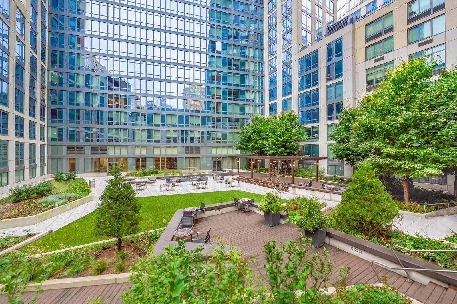 Landscaped courtyard at The Aldyn, New York, New York