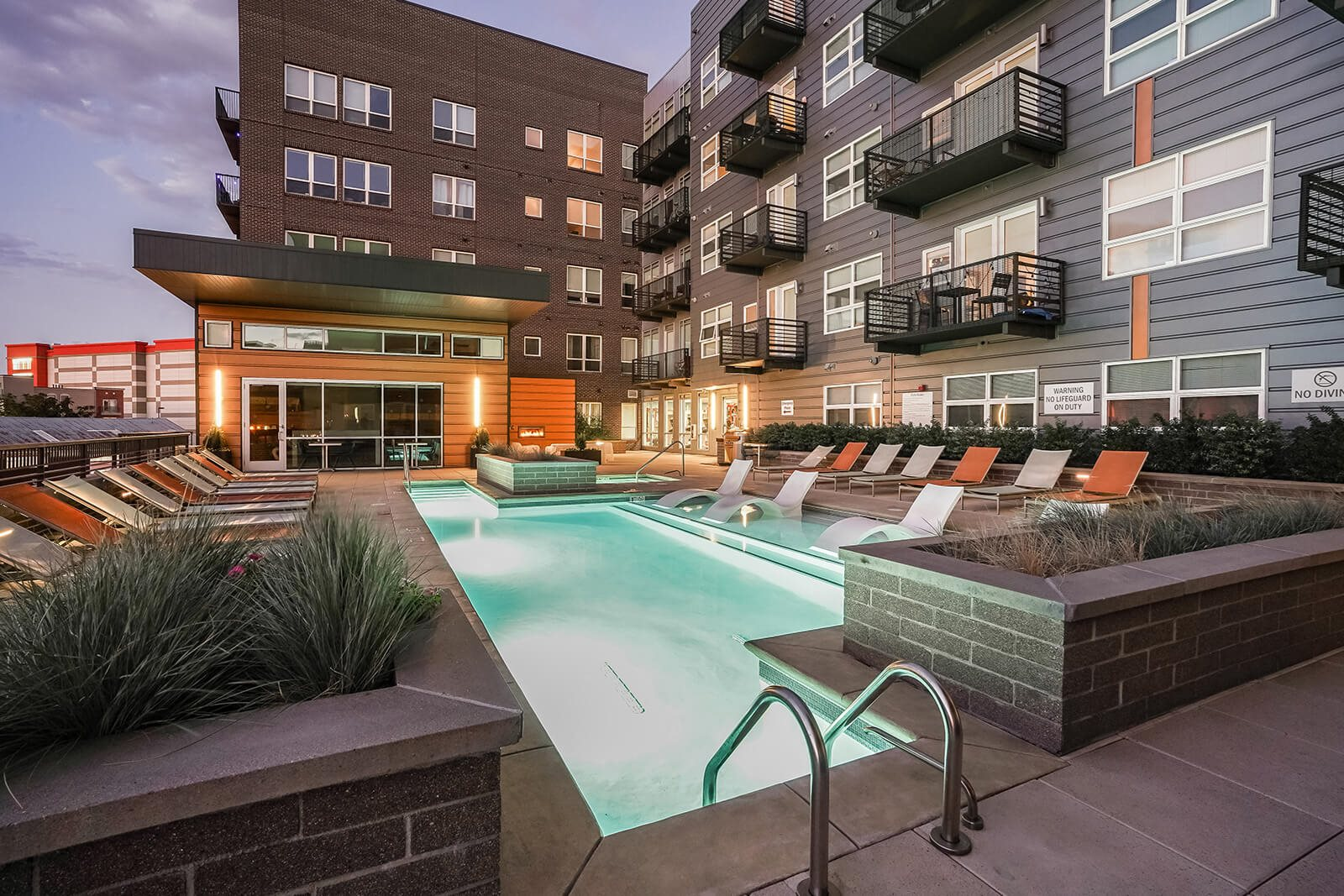 Sundeck with Lounge Chairs around Pool at The Casey, Denver, 80202