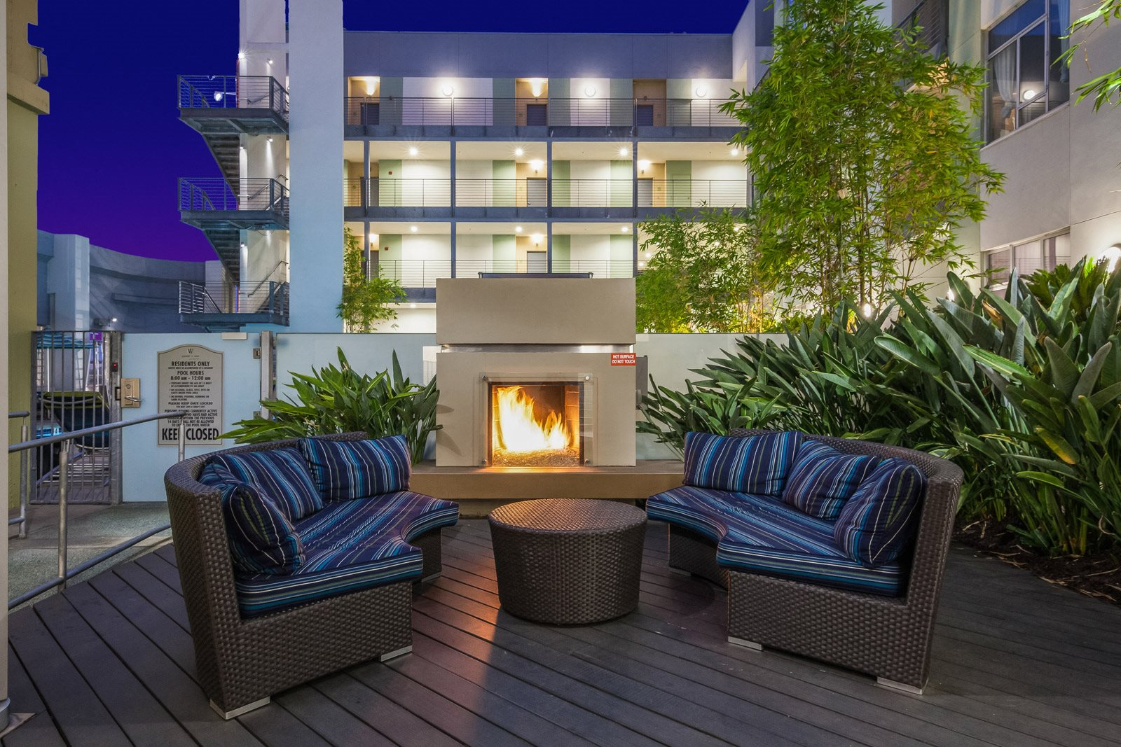 Relaxing, Outdoor Lounge Area with Fireplace at Sunset and Vine, Los Angeles, CA